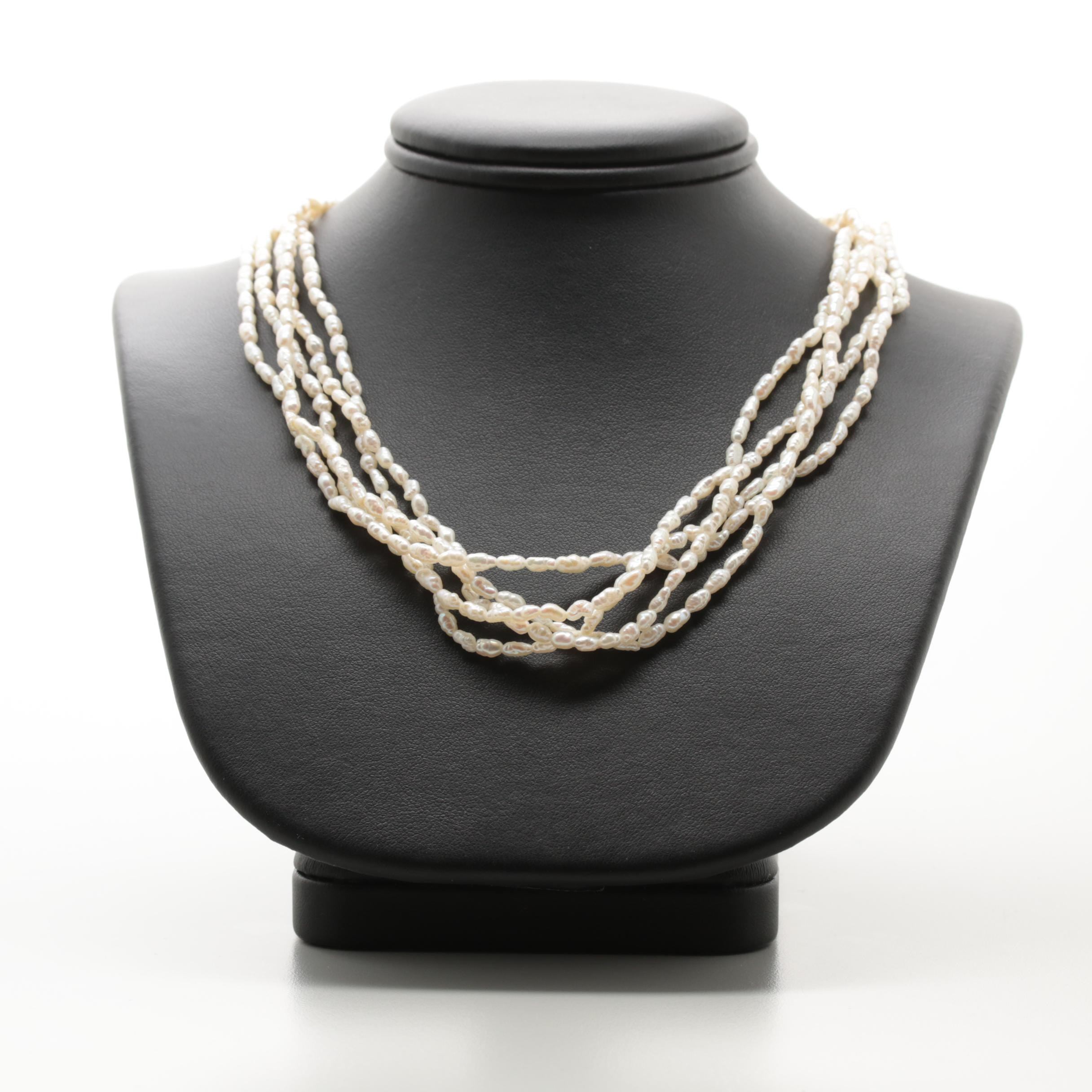 14K Yellow Gold Multi-Strand Cultured Pearl Necklace