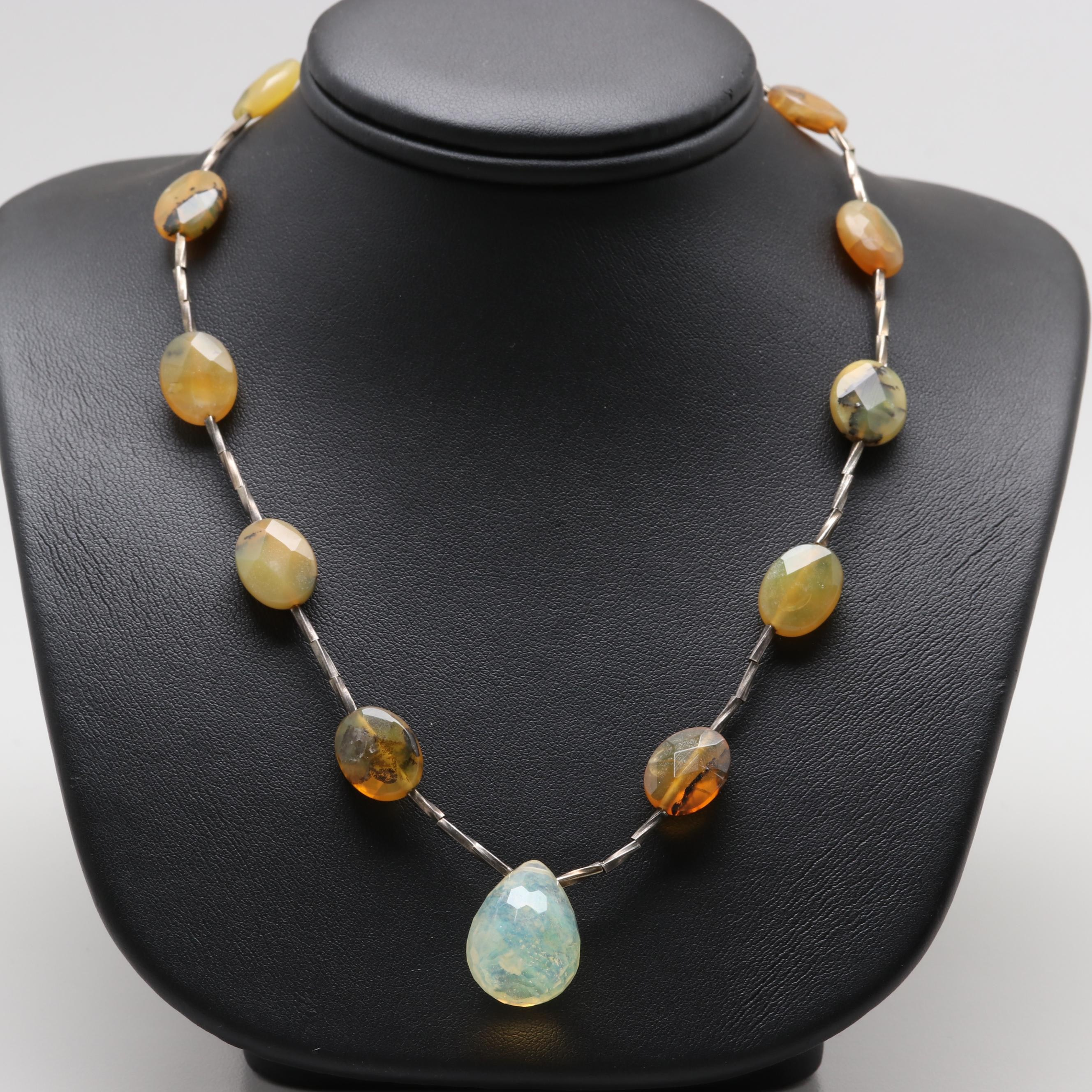 Sterling Silver Glass and Agate Necklace