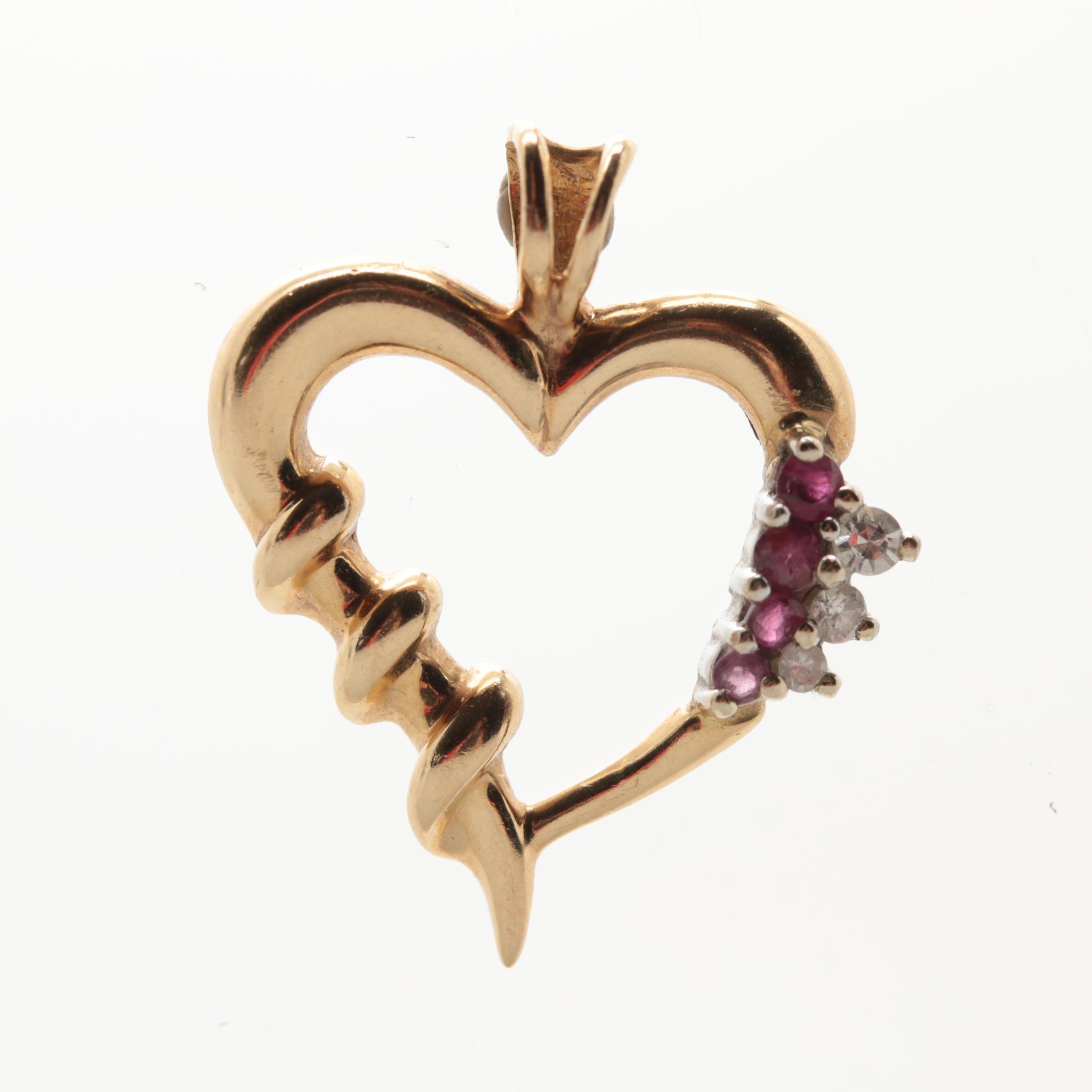 14K Yellow Gold Diamond and Ruby Heart Pendant