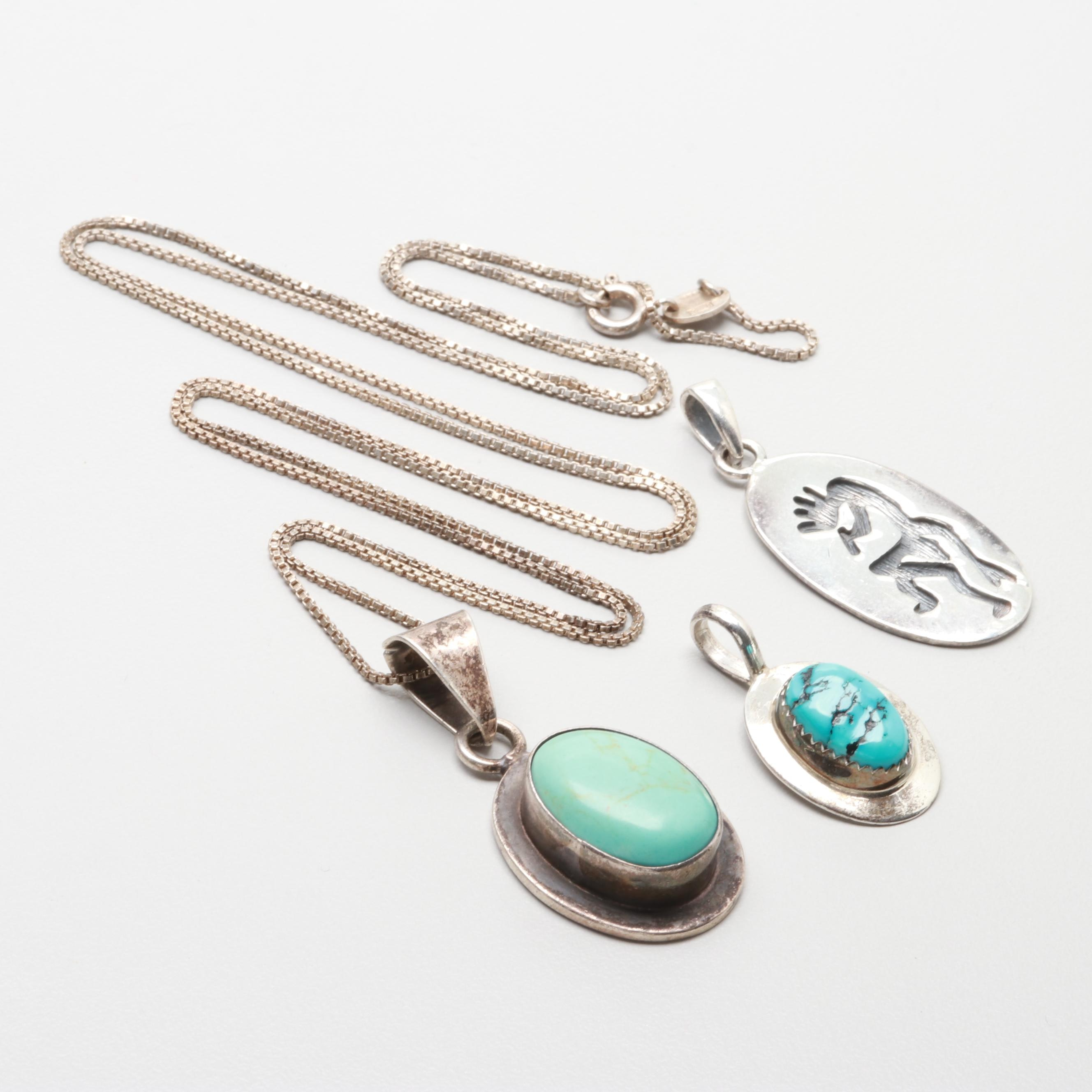 Sterling Silver Kokopelli and Turquoise Pendants with Denna Platero