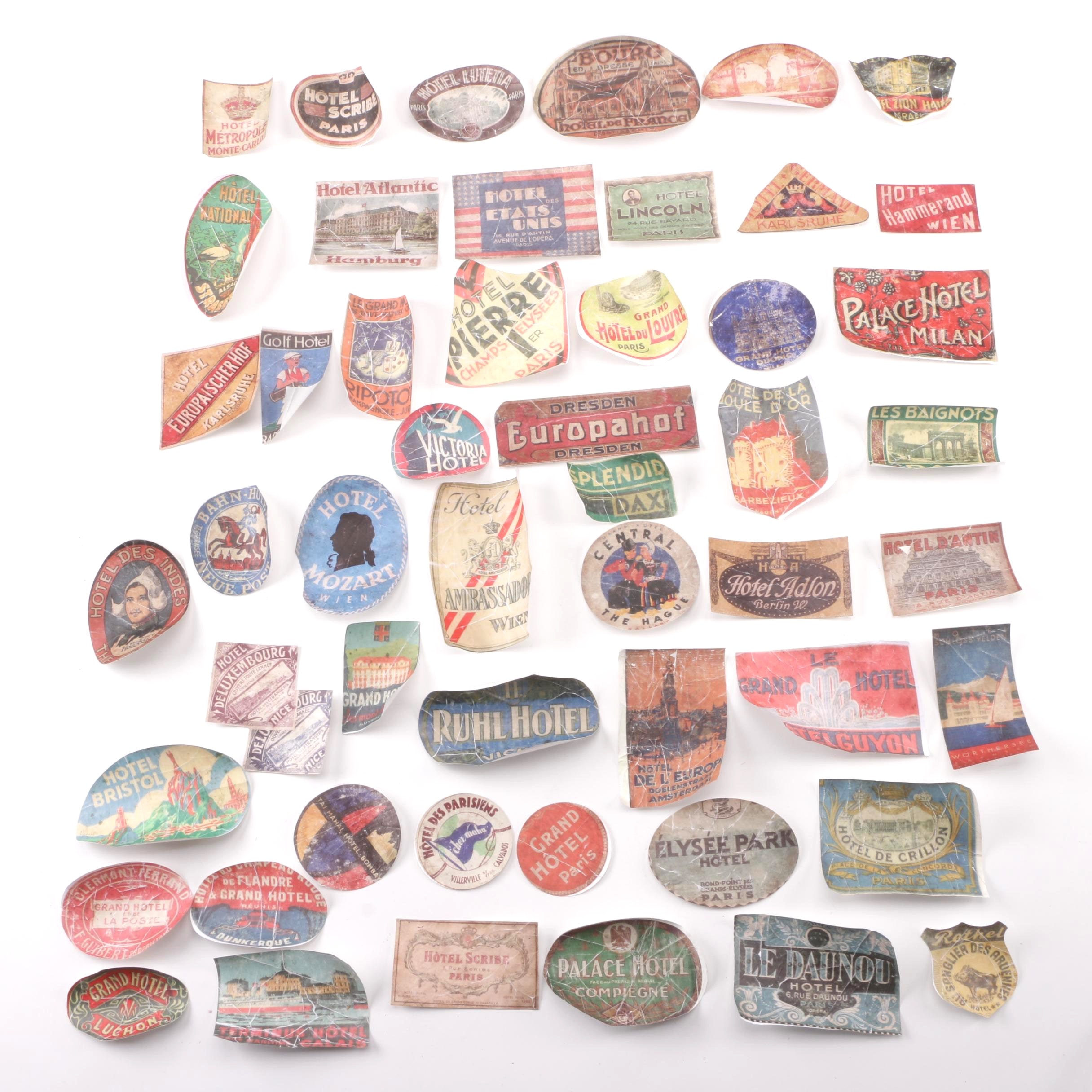Reproduction European Travel and Hotel Stickers