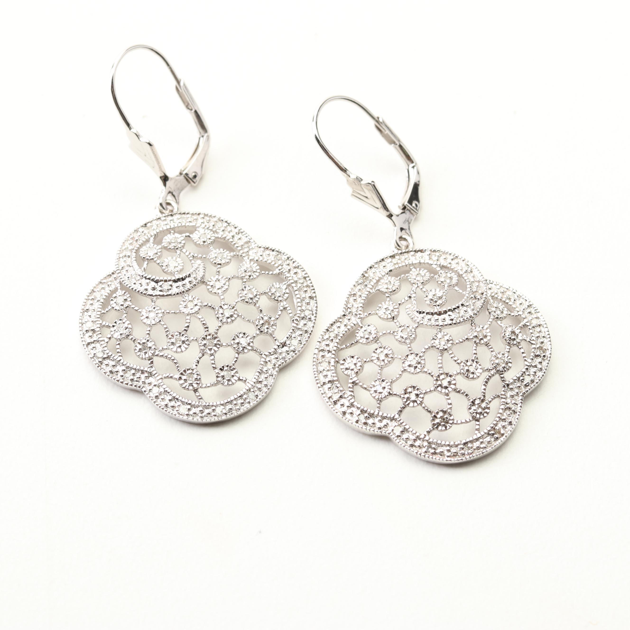 Sterling Silver Diamond Openwork Dangle Earrings