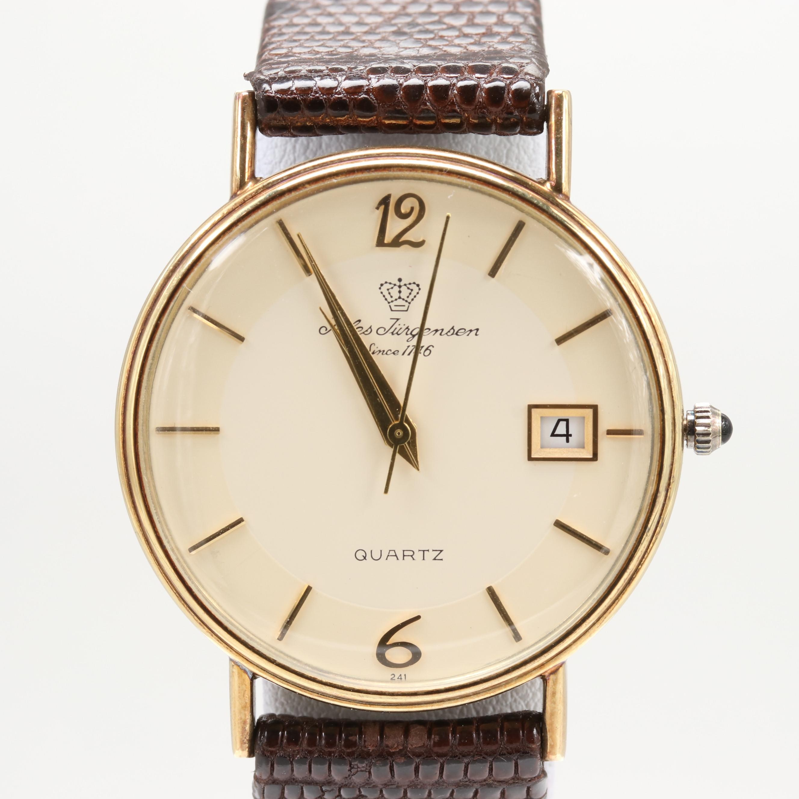 Jules Jurgensen 14K Yellow Gold Quartz Wristwatch With Date Window