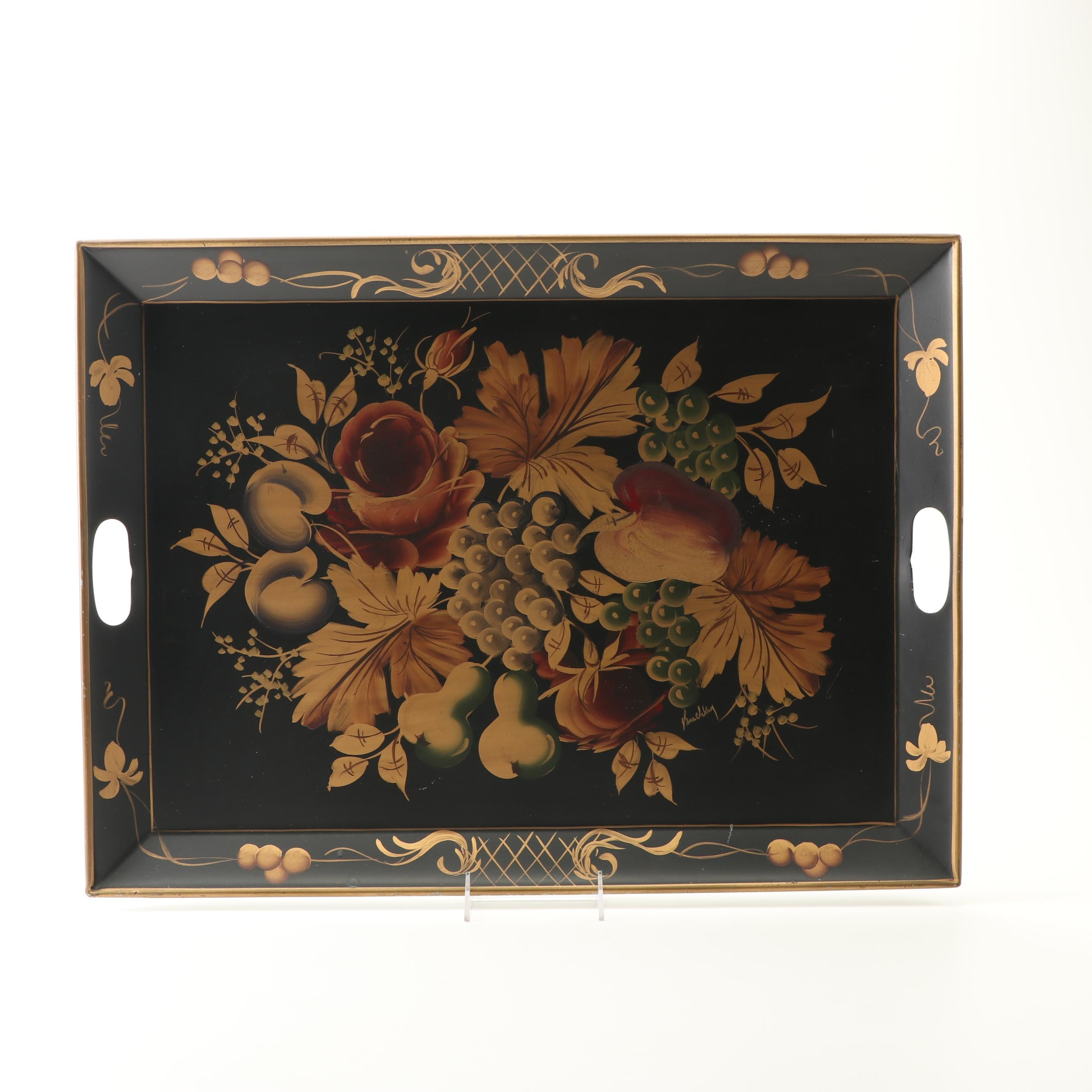 Pilgrim Art Hand Decorated Tole Tray by Buckley