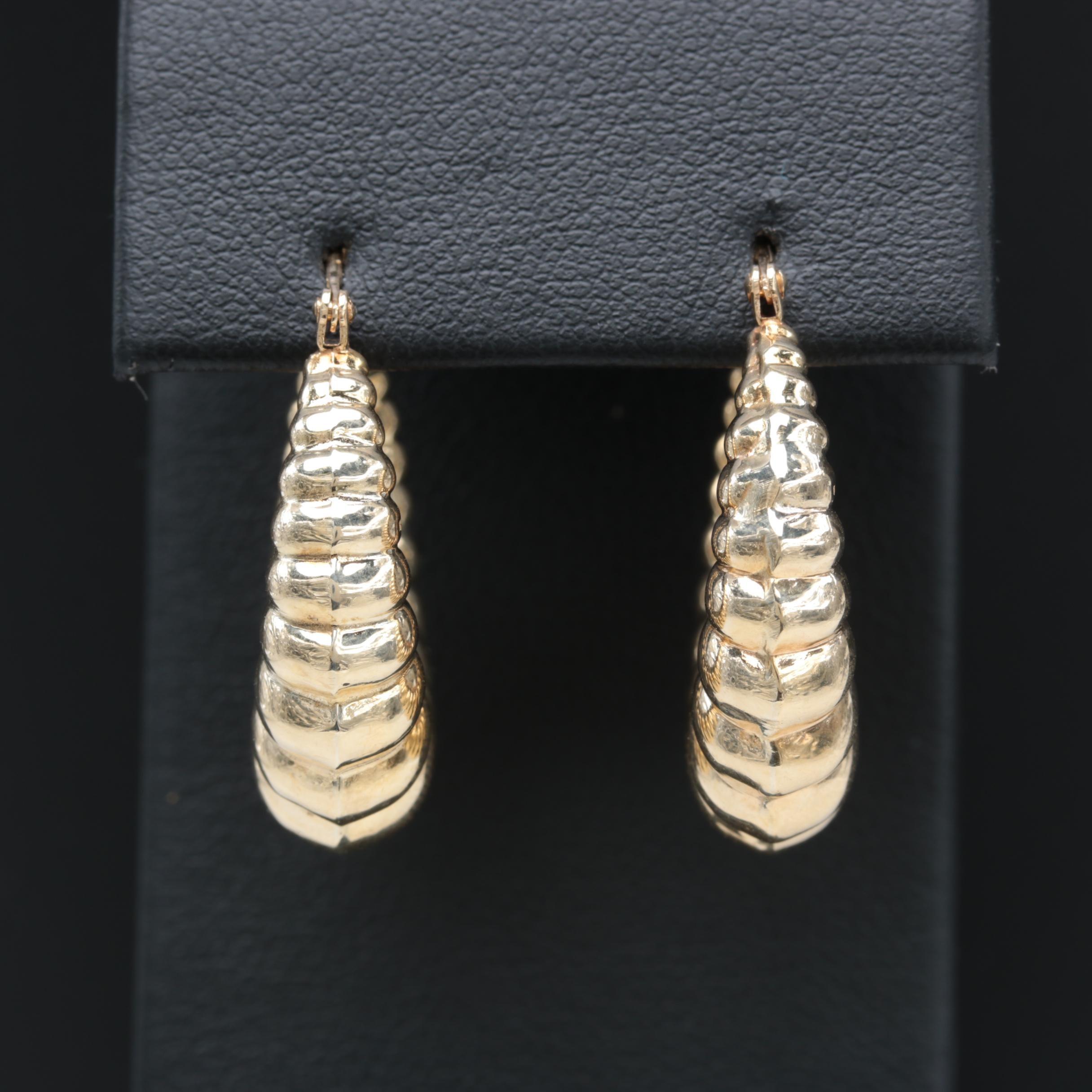 14k Yellow Gold Shrimp Hoop Earrings Ebth
