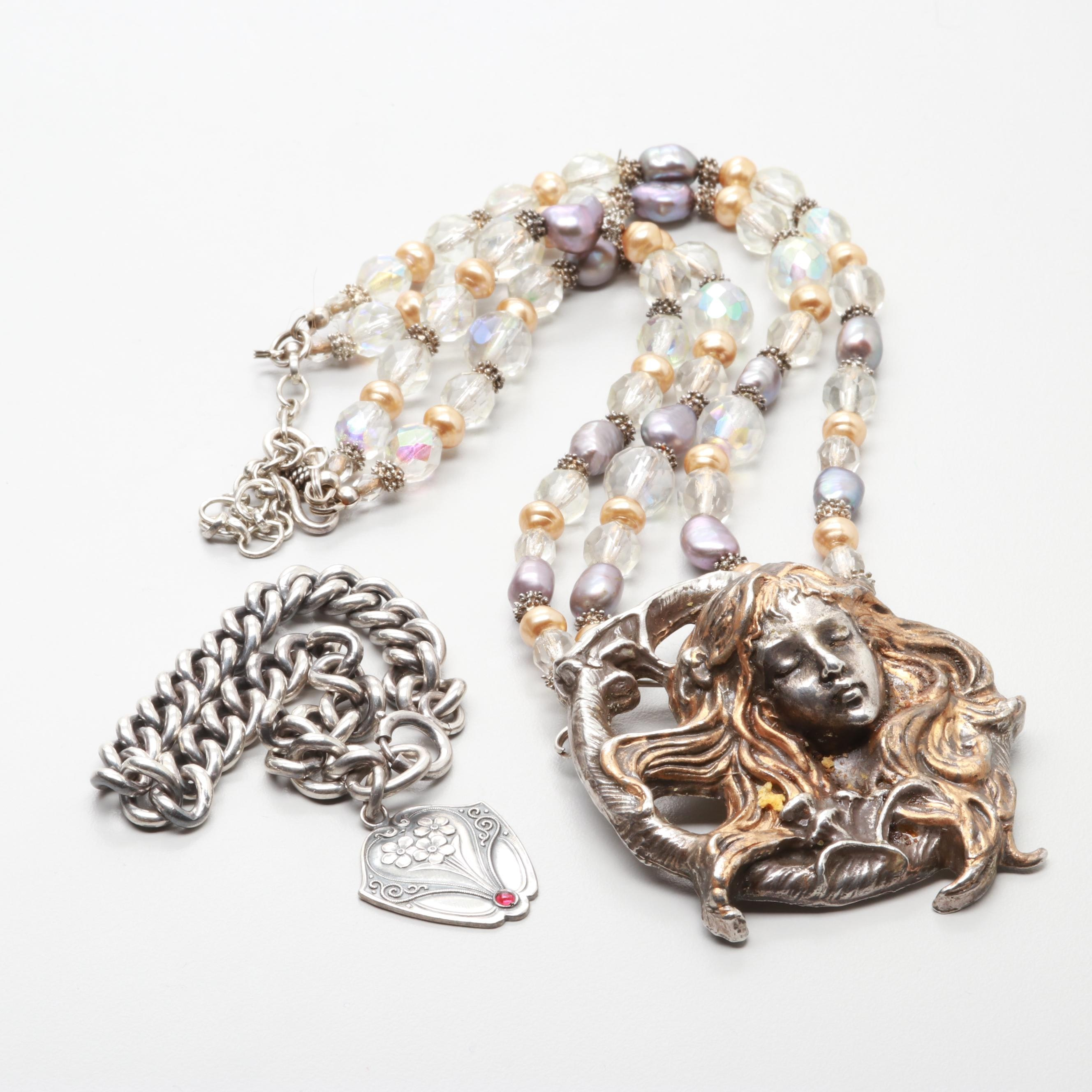 Sterling Helen Kish Beaded Mermaid Necklace and Bracelet with 800 Silver Charm