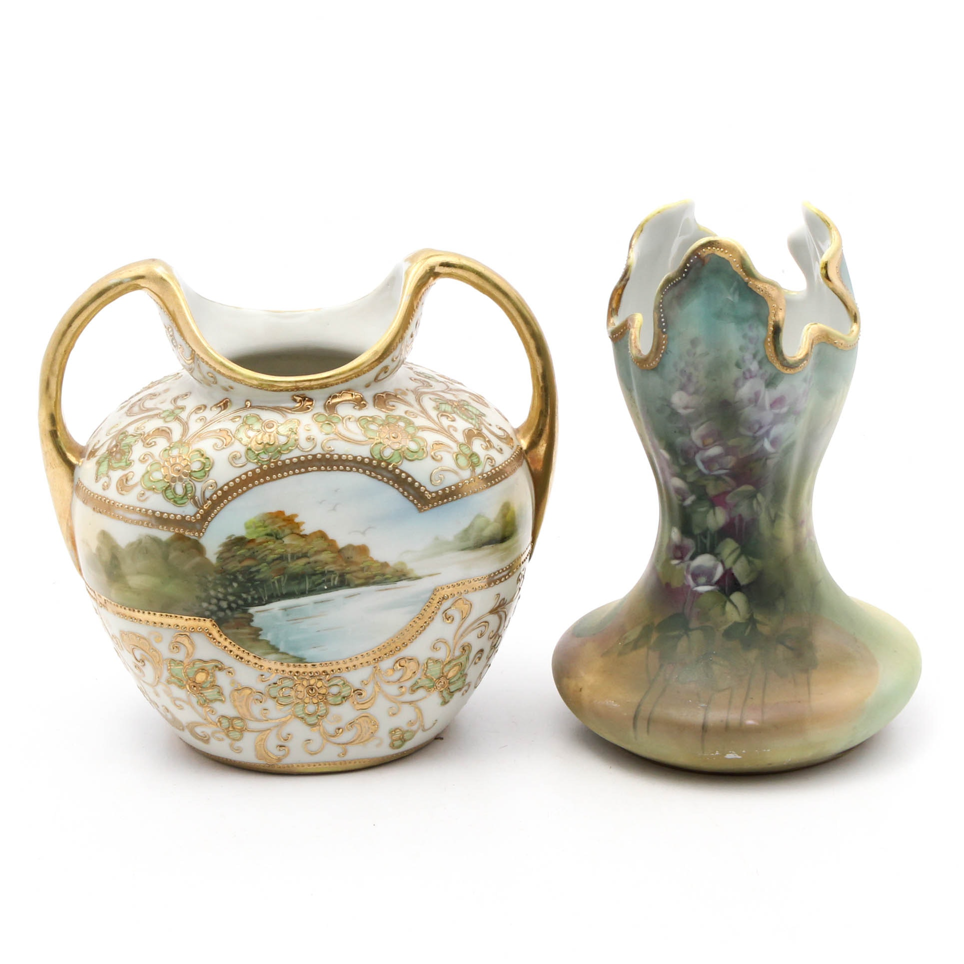 Two Vintage Nippon Hand-Painted Porcelain Vases