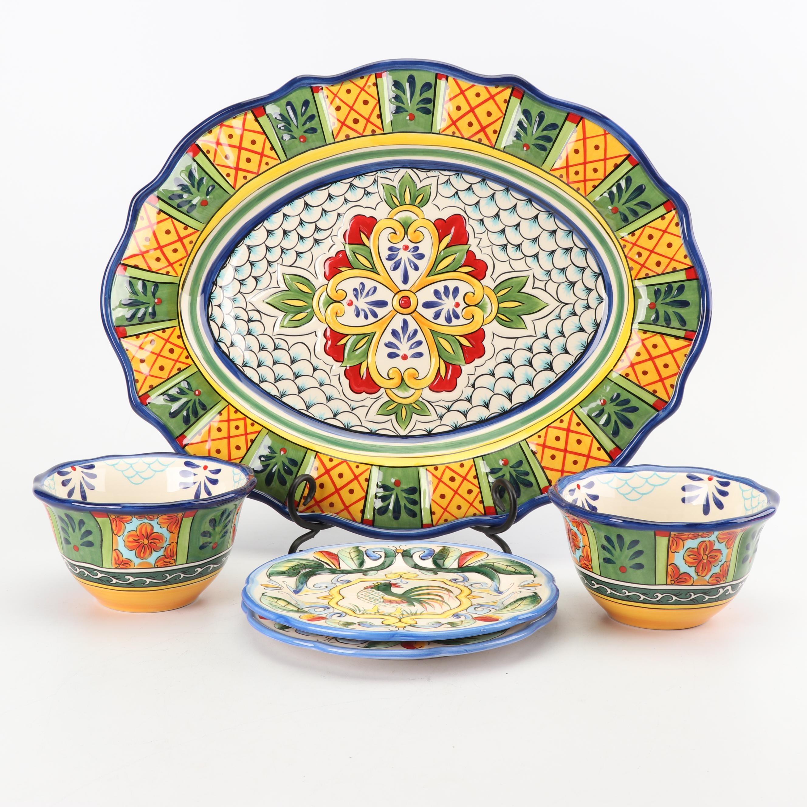 "Tabletops Gallery ""Benito"" Hand-Painted Ceramic Dinnerware"