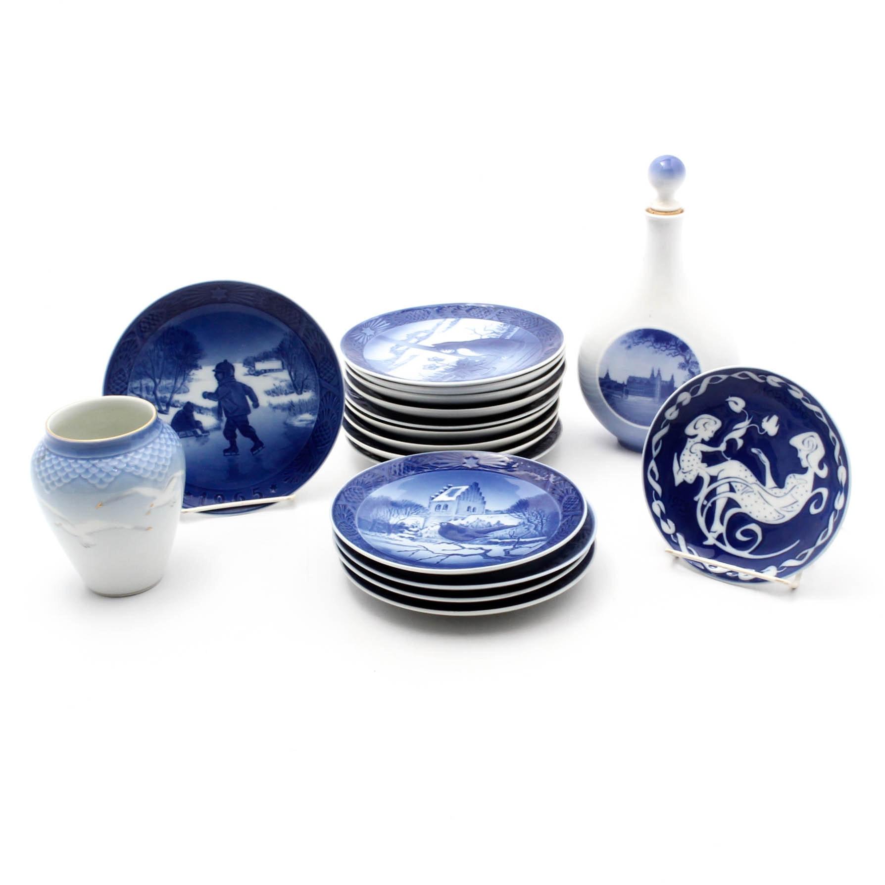 Royal Copenhagen Collector Plates, Decanter, and Vase