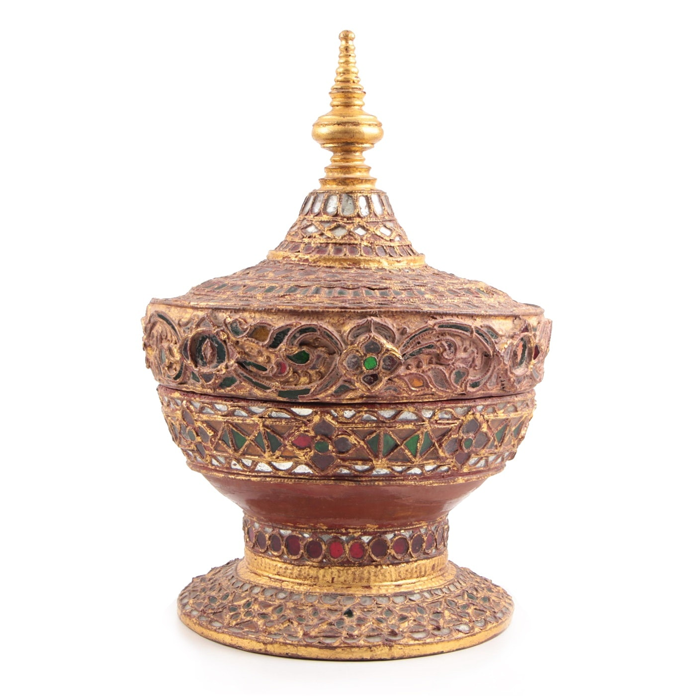 "Burmese Red Lacquered and Gilt Food Offering Vessel, ""Hsun-Ok"", Circa 1900"