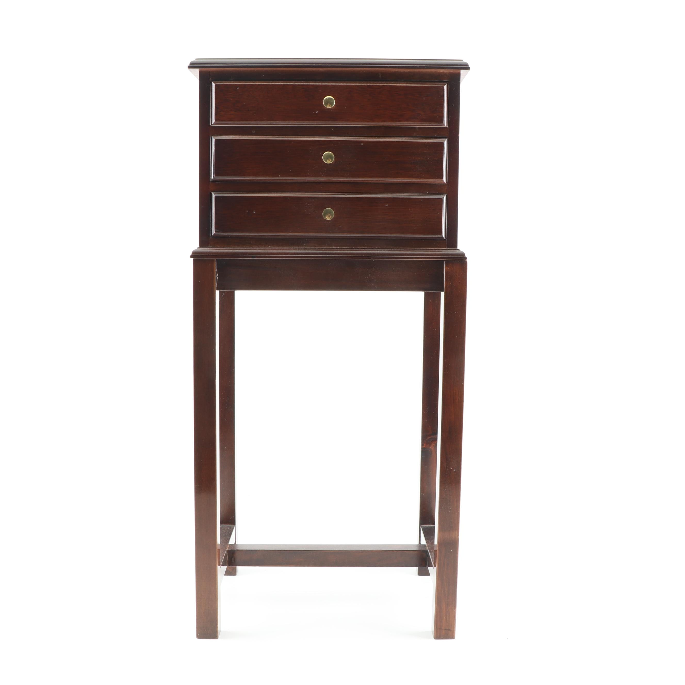 Federal Style Mahogany Flatware Chest on Stand, 21st Century