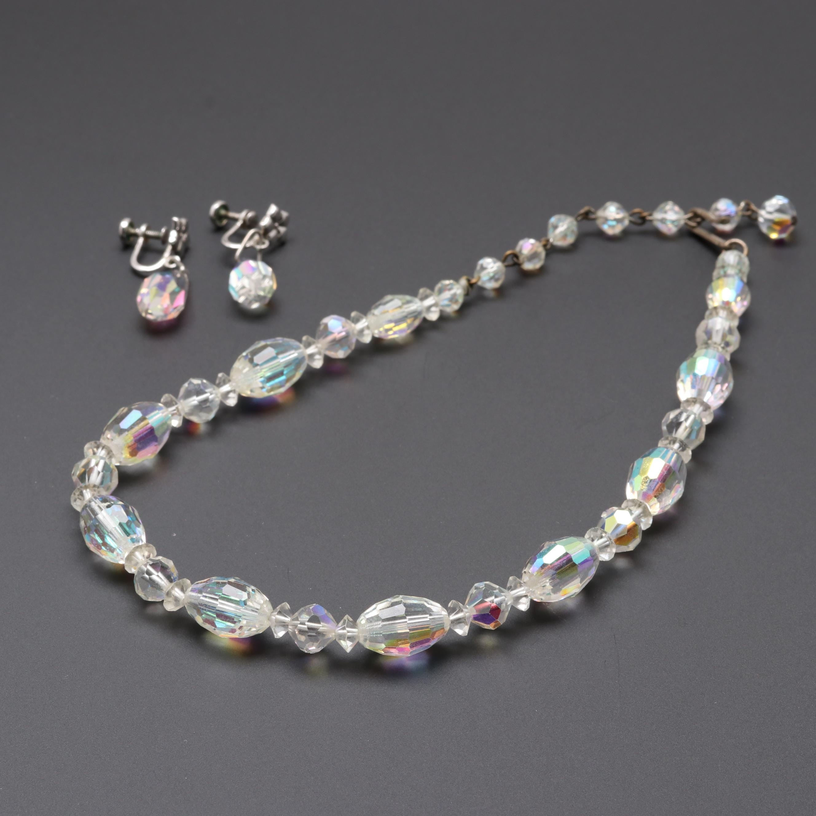 Laguna Glass Beaded Costume Necklace and Amco Sterling Glass Bead Earrings