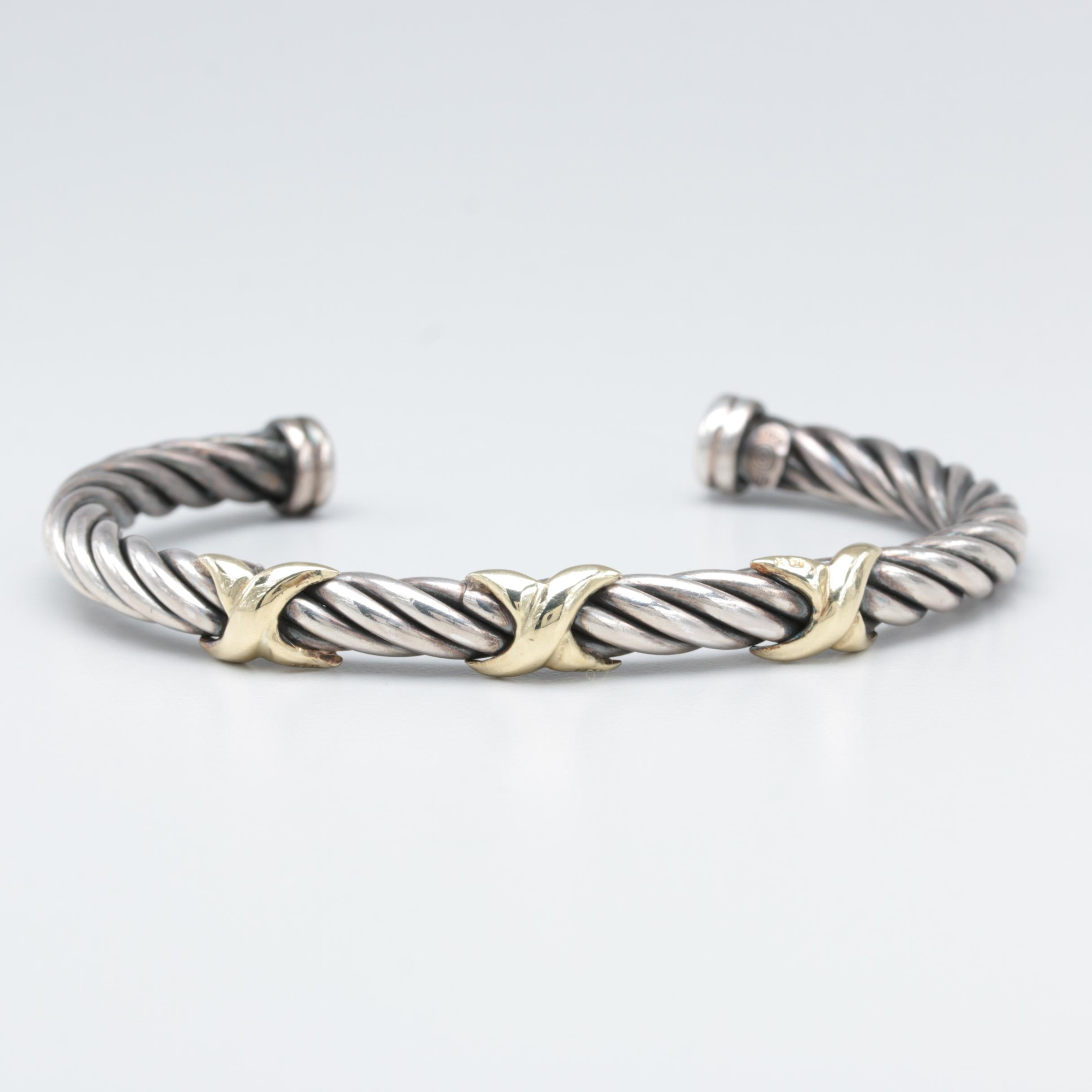 Sterling Silver Cuff Bracelet with 14K Yellow Gold Accents