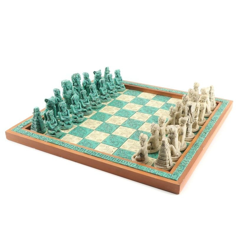 Mayan Inspired Wood and Stone Chess Set
