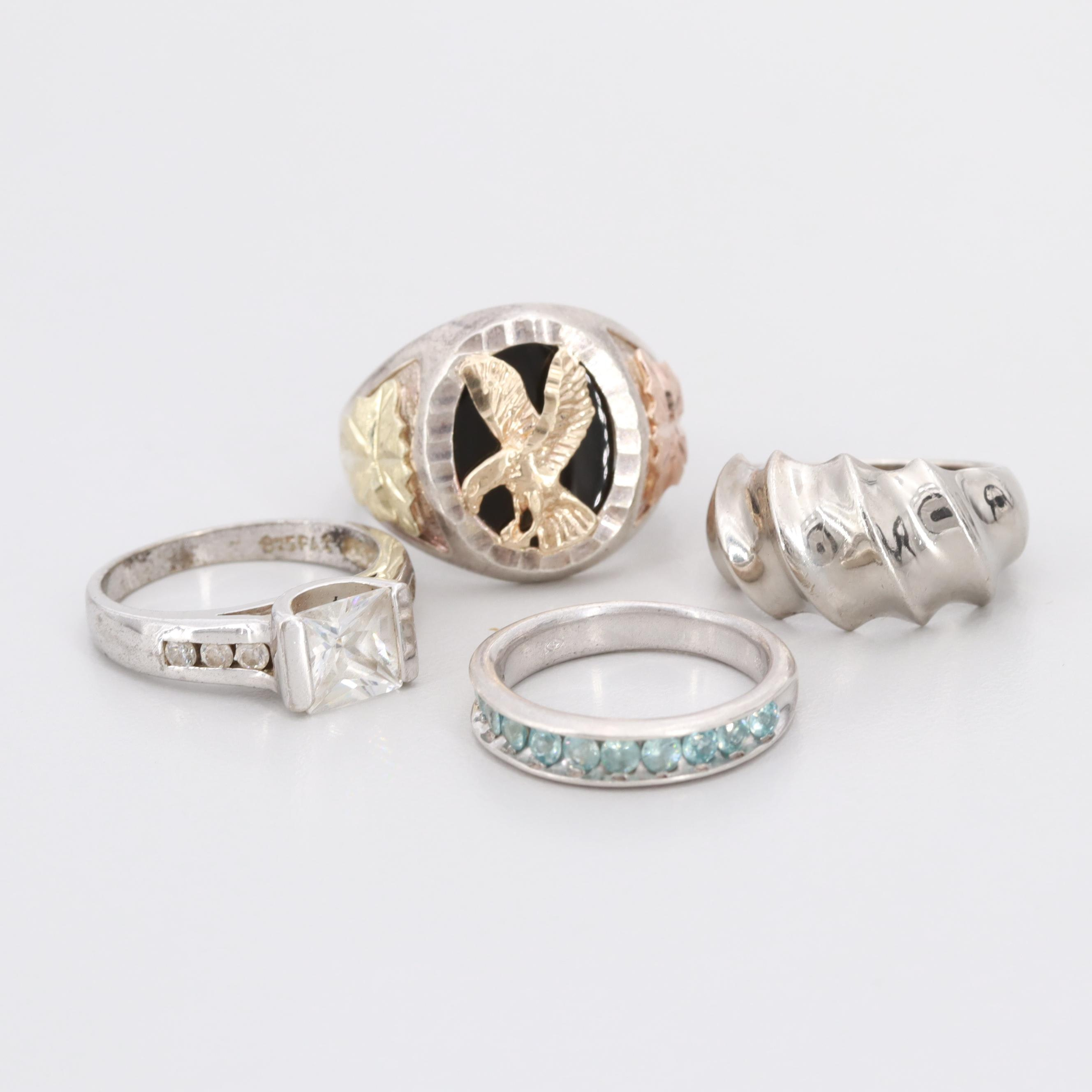 Sterling Synthetic Spinel, Onyx, and Cubic Zirconia Rings Featuring 10K Accents