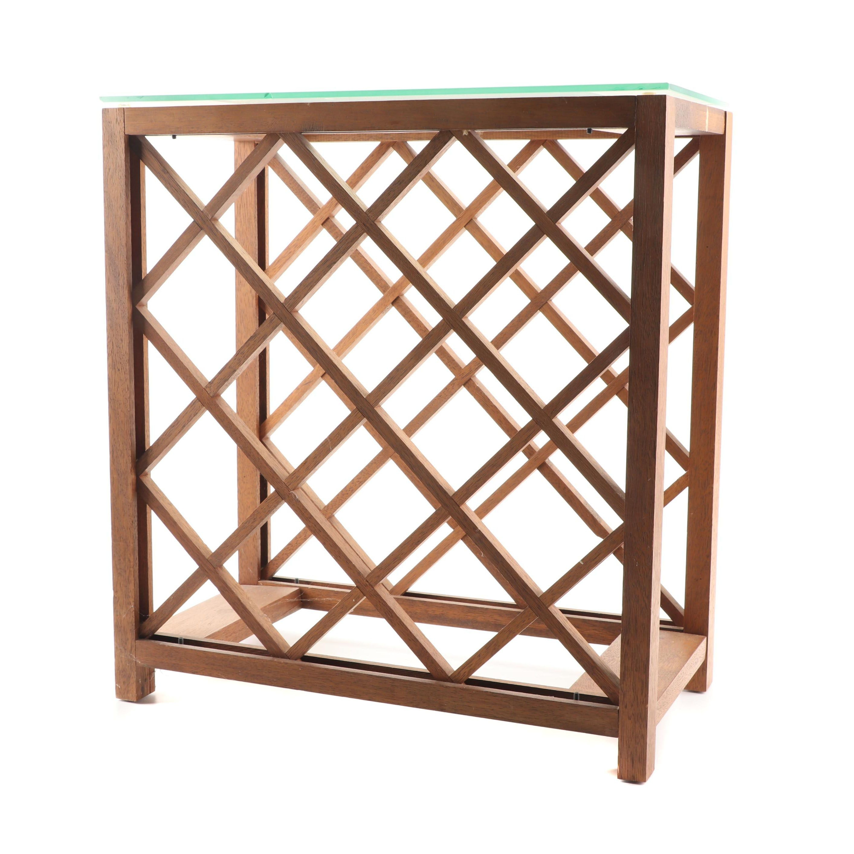Wood and Glass Top Wine Rack Side Table, 21st Century