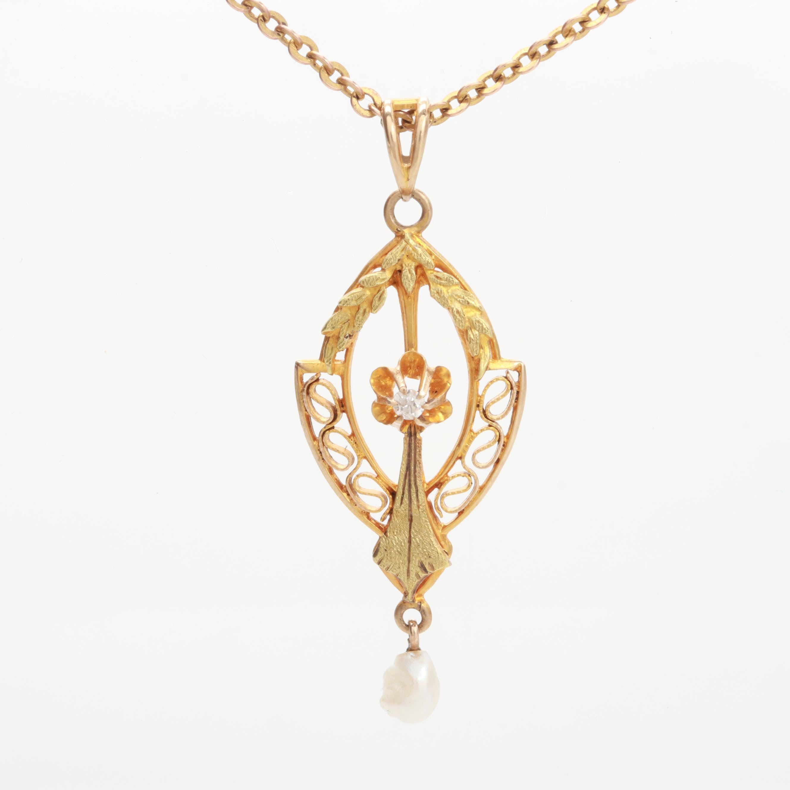 Circa 1910s 10K Yellow Gold Diamond and Seed Pearl Lavalier Pendant Necklace