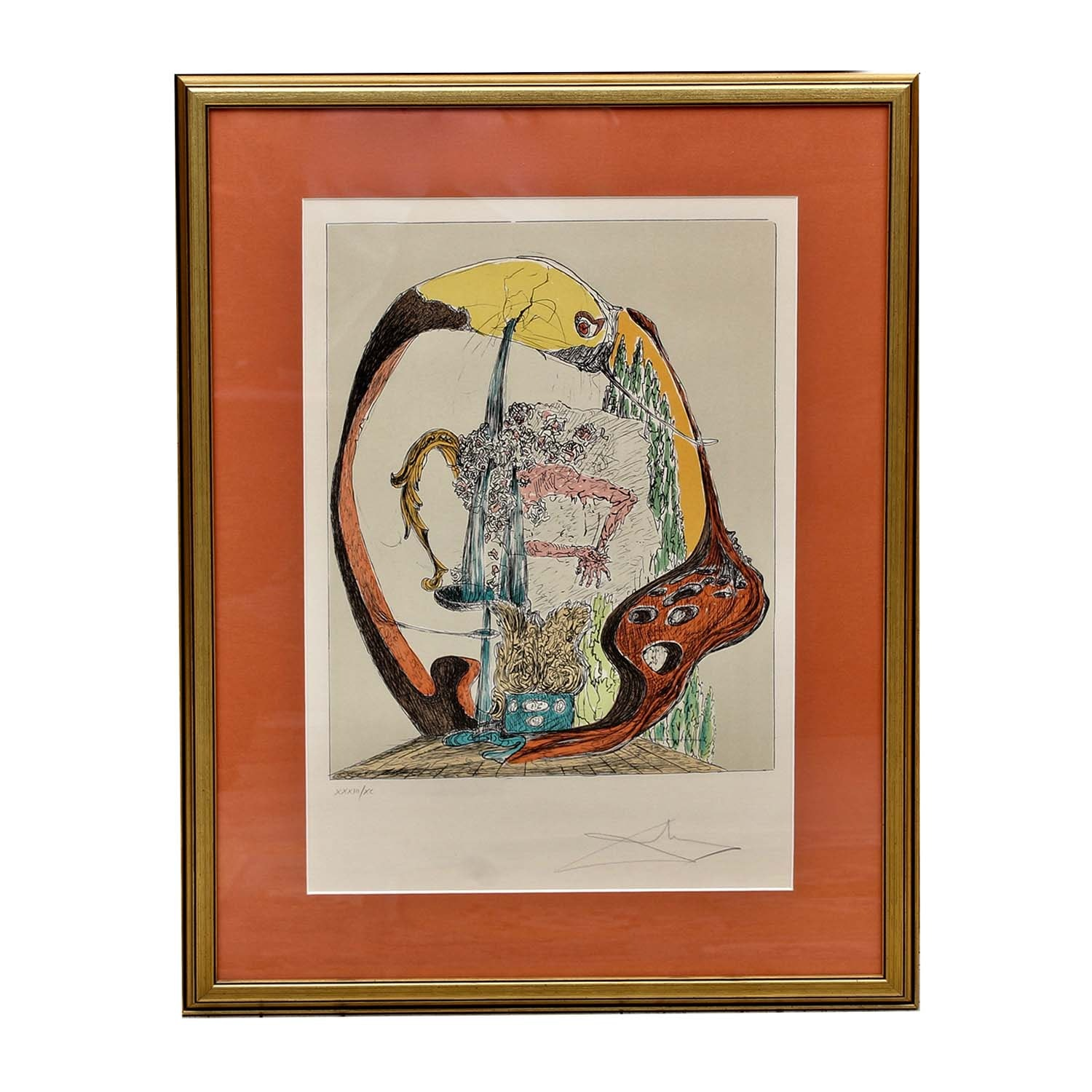 Salvador Dali and Paul Eluard Collaborative Color Lithograph