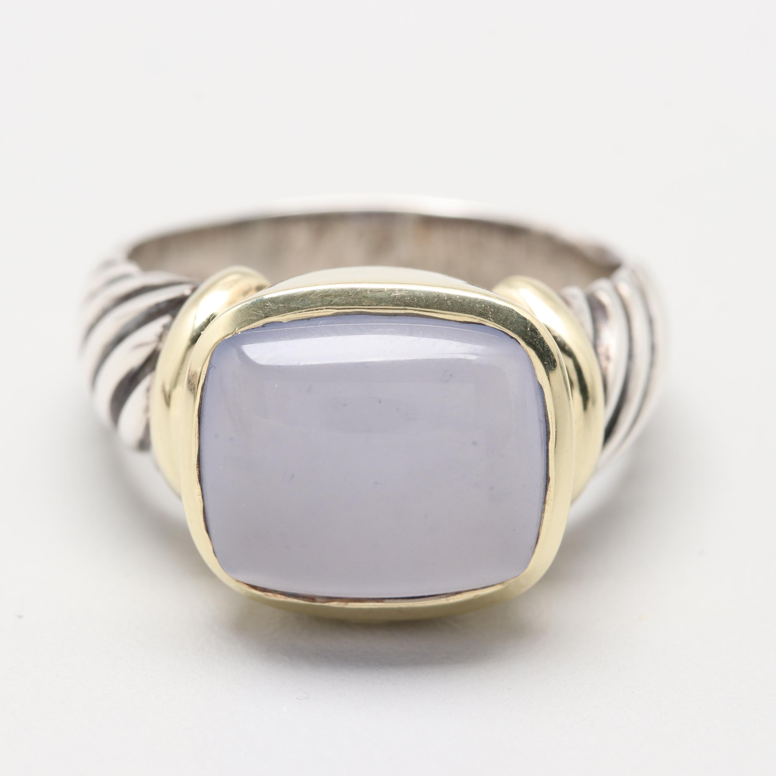 """David Yurman """"Noblesse"""" Sterling Silver Chalcedony Ring with 14K Gold Accents"""