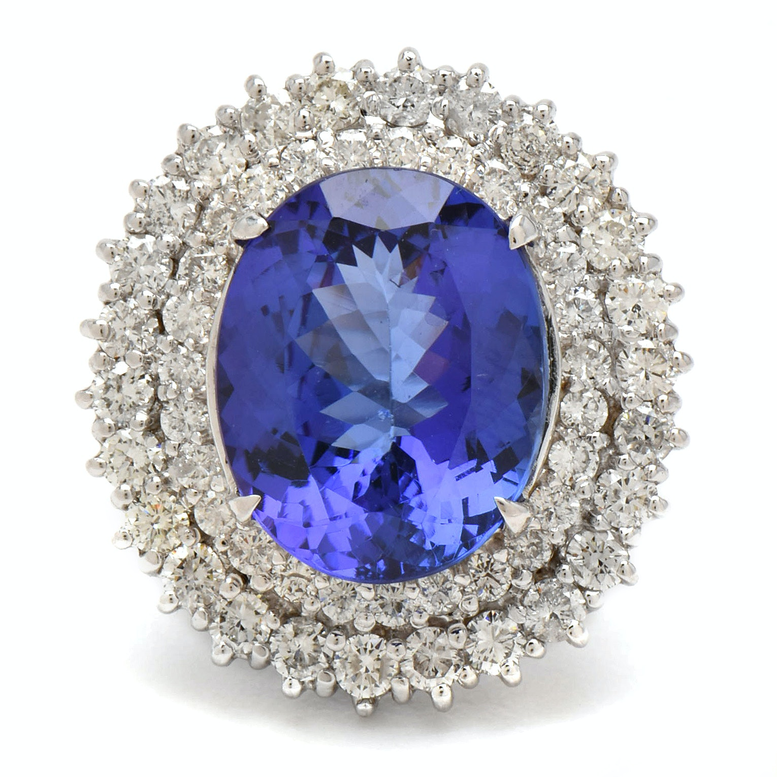 14K White Gold 11.20 CT Tanzanite and 2.37 CTW Diamond Ring