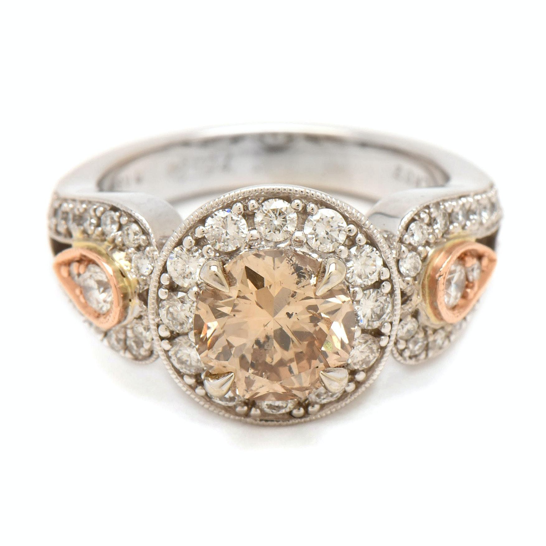 14K White Gold 2.60 CTW Diamond Ring