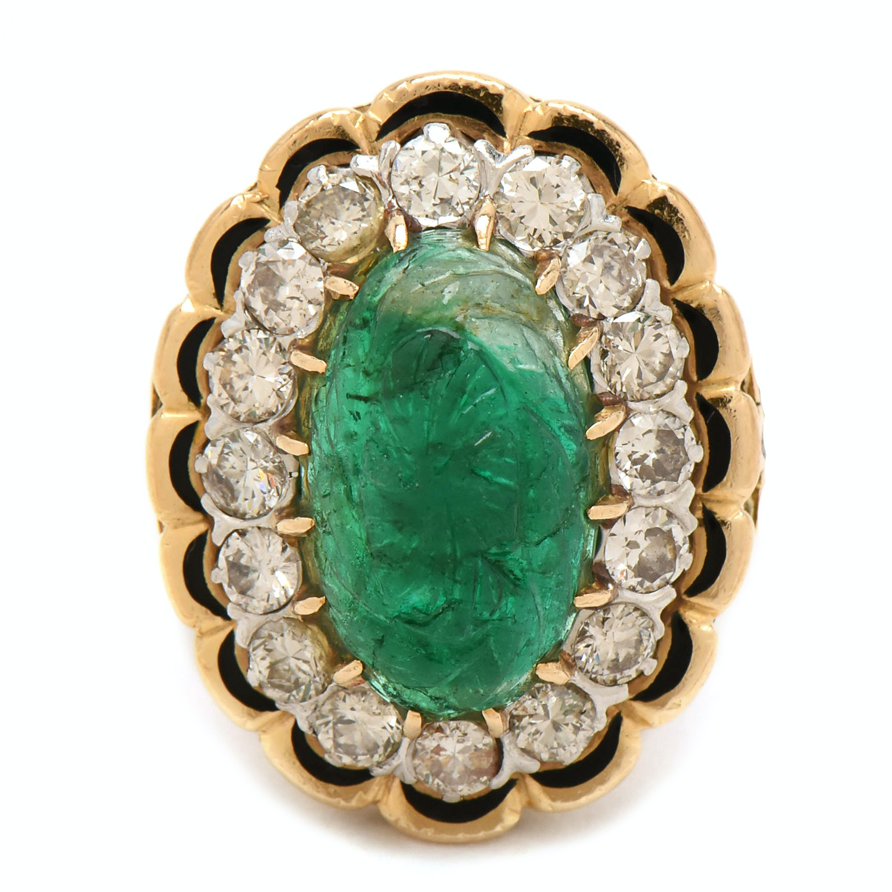 18K Yellow Gold Carved Emerald, 1.44 CTW Diamond, and Enamel Ring