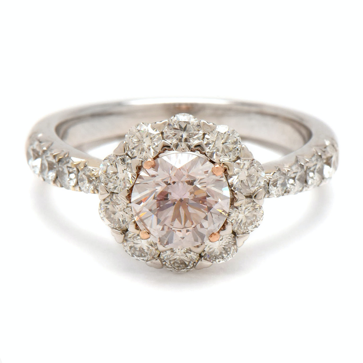 18K White Gold 2.05 CTW Diamond Ring with Very Light Pink Diamond and GIA Report