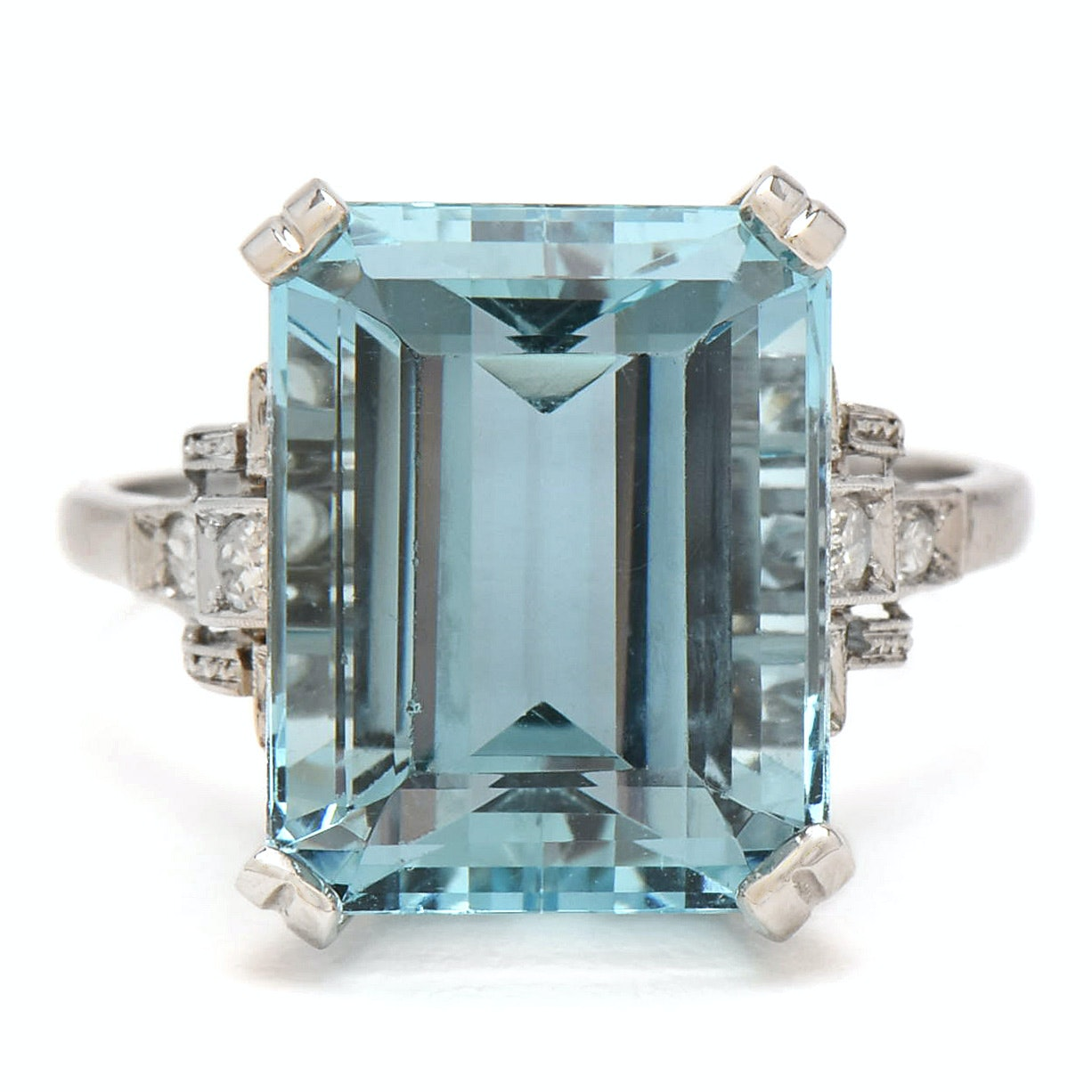 Platinum 10.34 CT Aquamarine and Diamond Ring with GIA Report