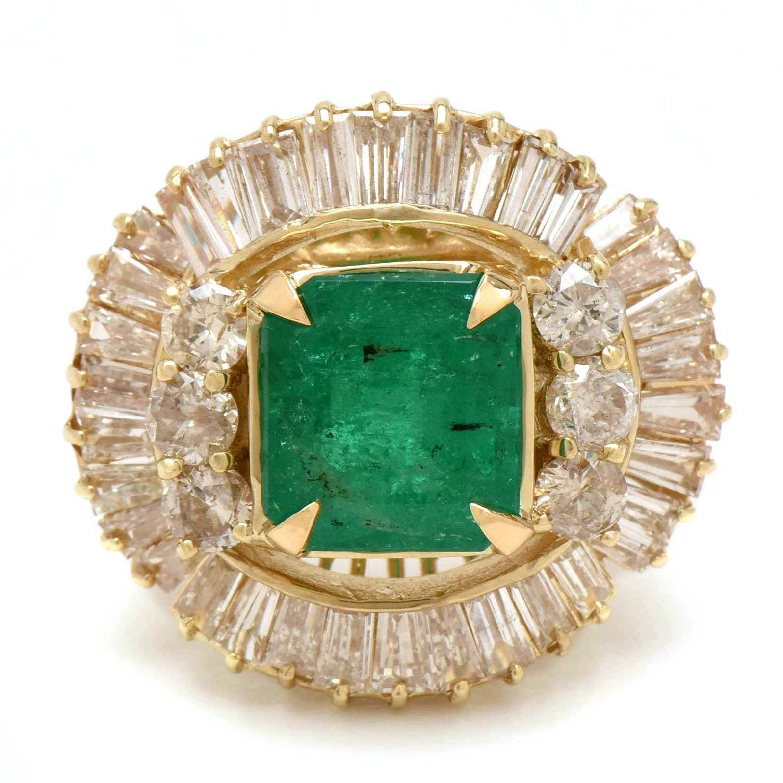 14K Yellow Gold 3.96 CT Emerald and 3.95 CTW Diamond Ring with AGL Report