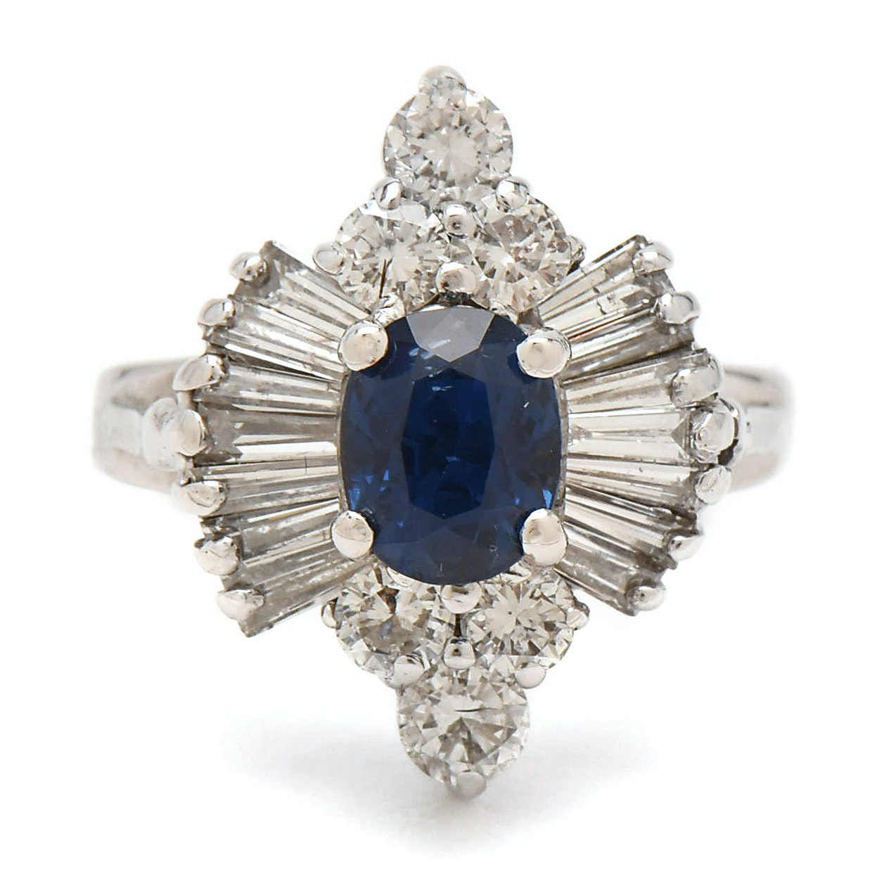 14K White Gold 1.20 CT Unheated Sapphire and Diamond Ring with AGL Report
