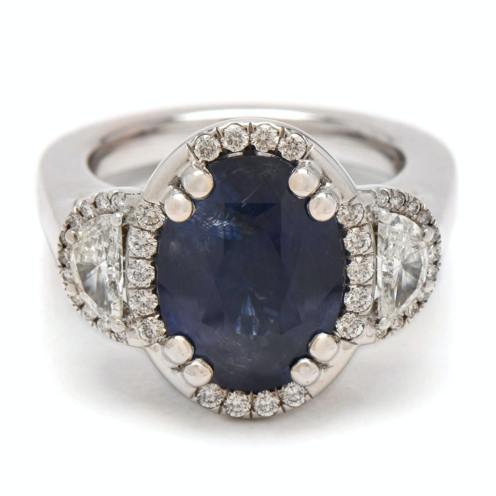 18K White Gold 6.45 CT Sapphire and 1.47 CTW Diamond Ring with AGL Report