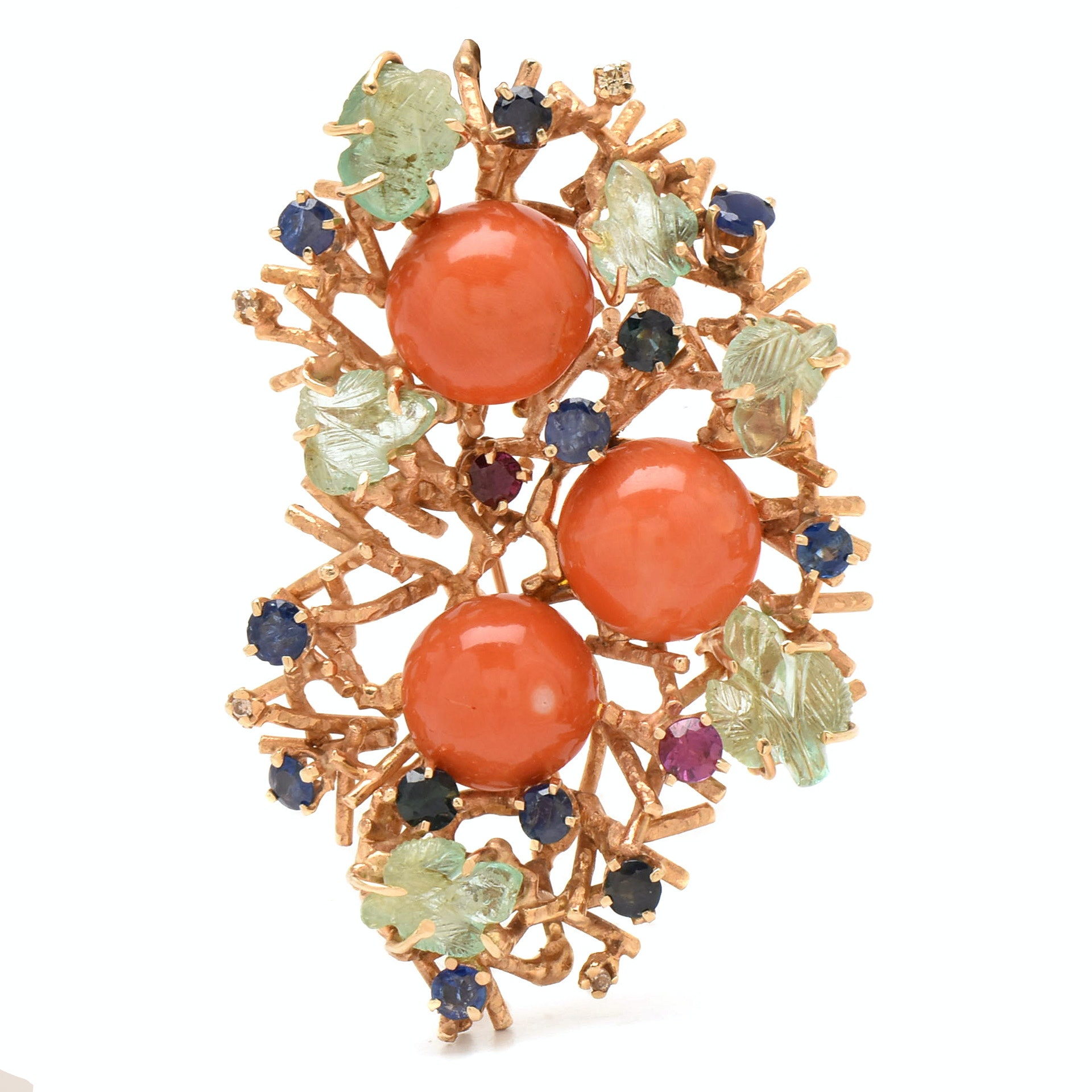 14K Yellow Gold Coral, Emerald, Sapphire, Diamond, and Beryl Nest Motif Brooch