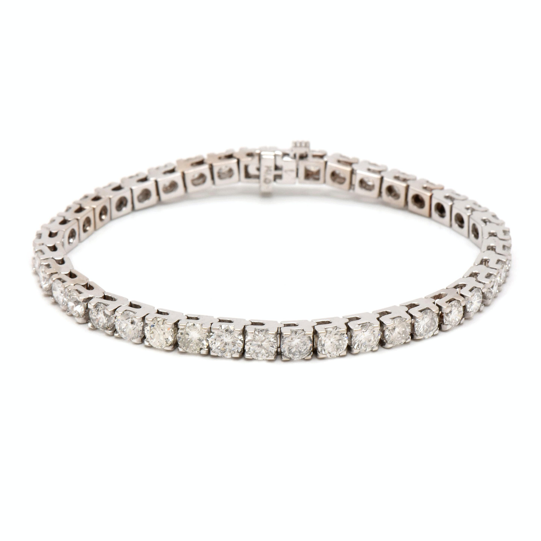 14K White Gold 10.05 CTW Diamond Tennis Bracelet