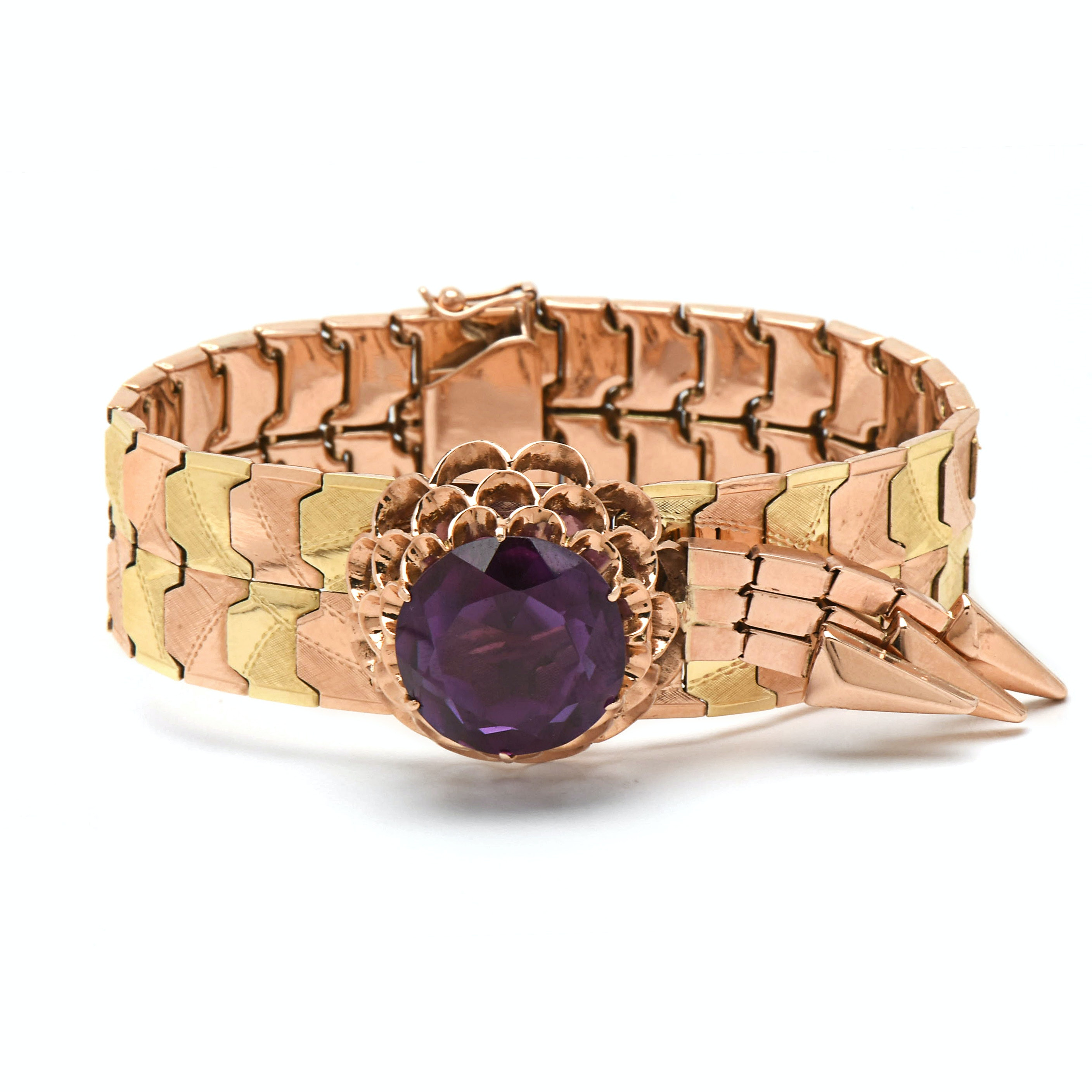 Circa 1950s 14K Rose and Green Gold Synthetic Color Change Sapphire Bracelet