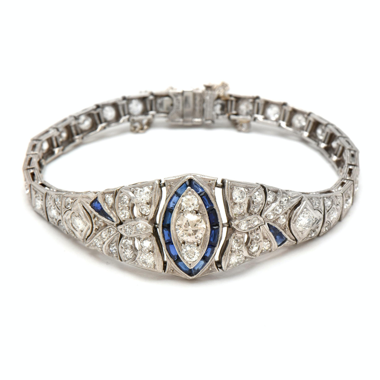 Belle Époque Platinum, 14K Gold 3.50 CTW Diamond, Synthetic Sapphire Bracelet