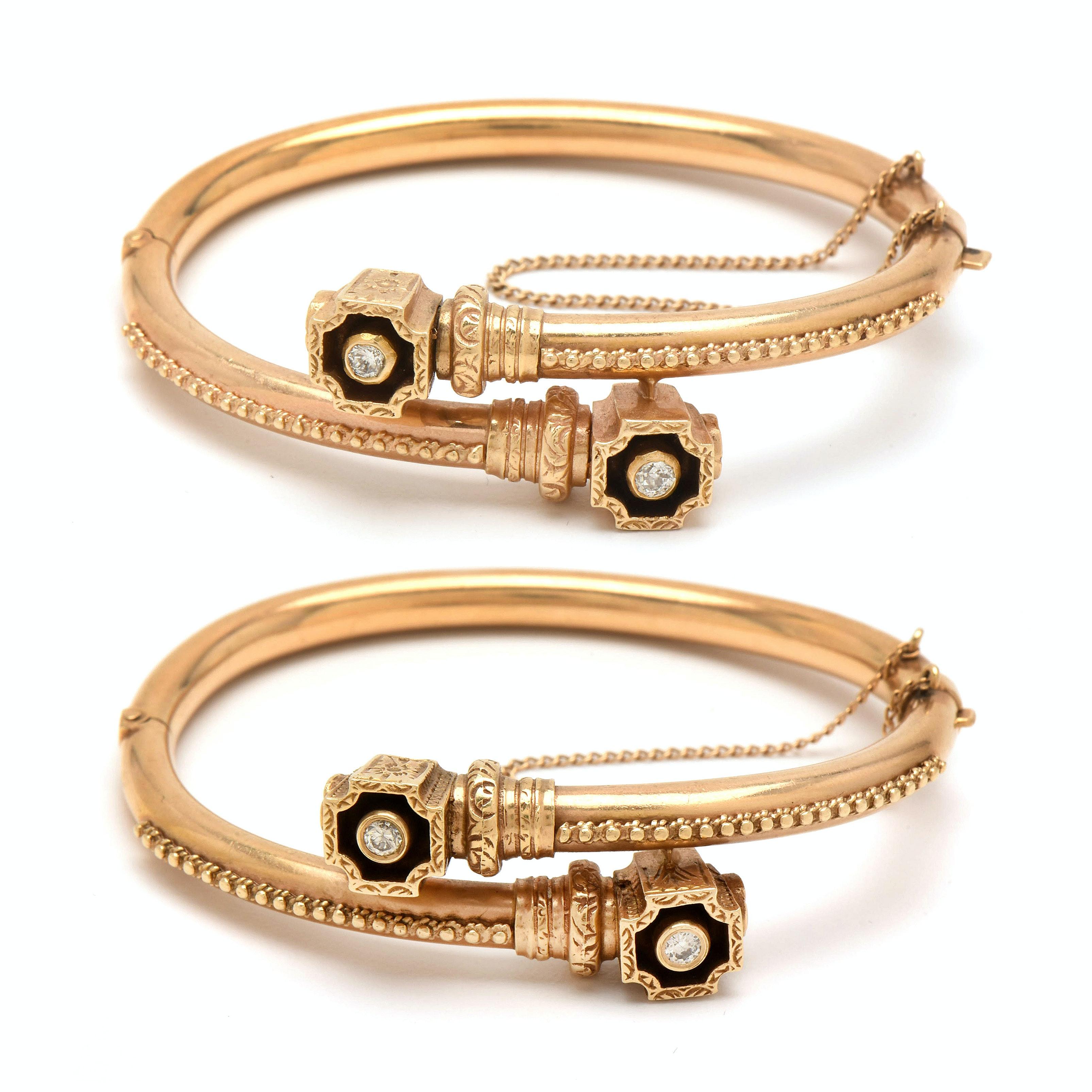 Victorian 14K Yellow Gold Diamond Hinged Bangle Wedding Bracelets
