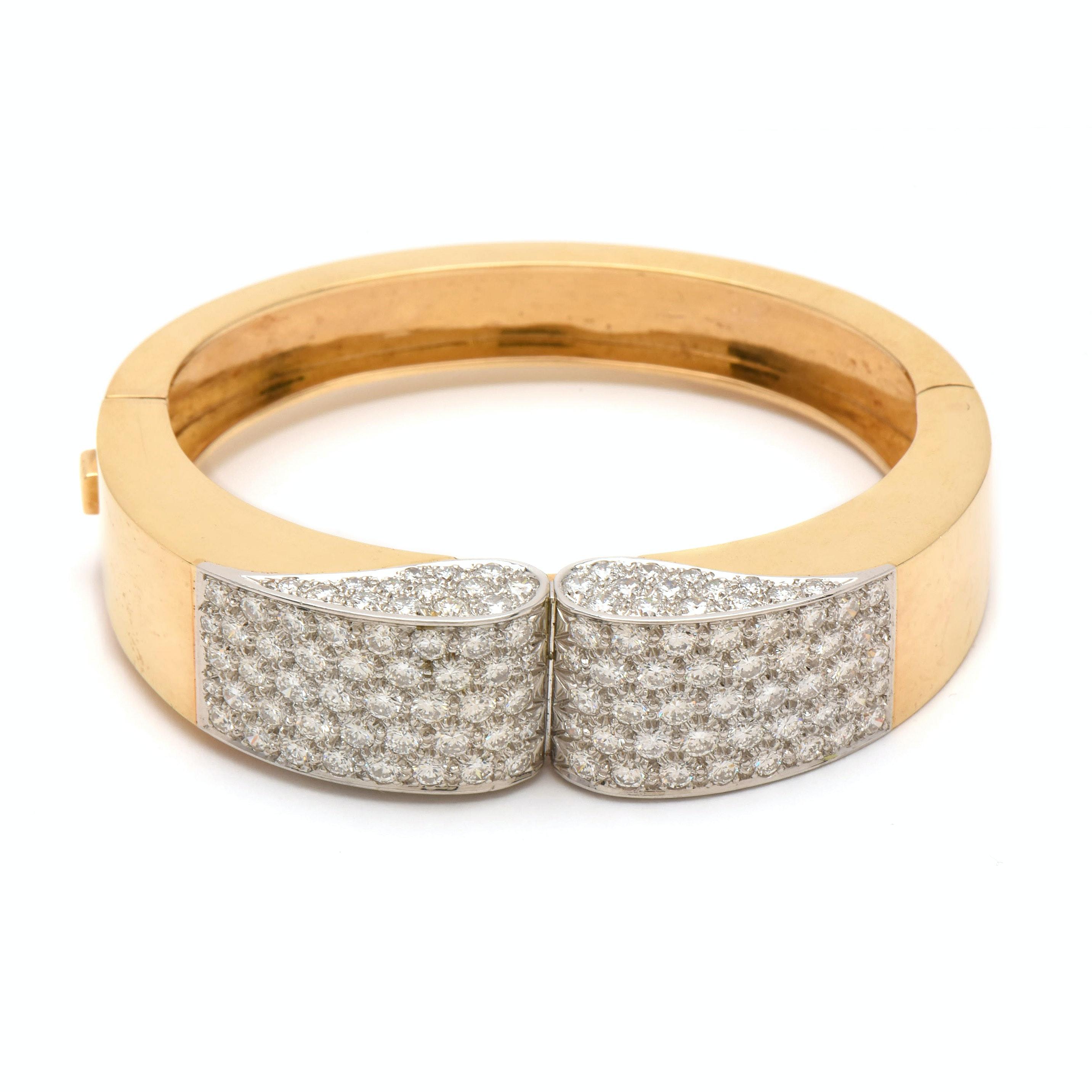 18K Yellow Gold 7.73 CTW Diamond Hinged Bangle Bracelet