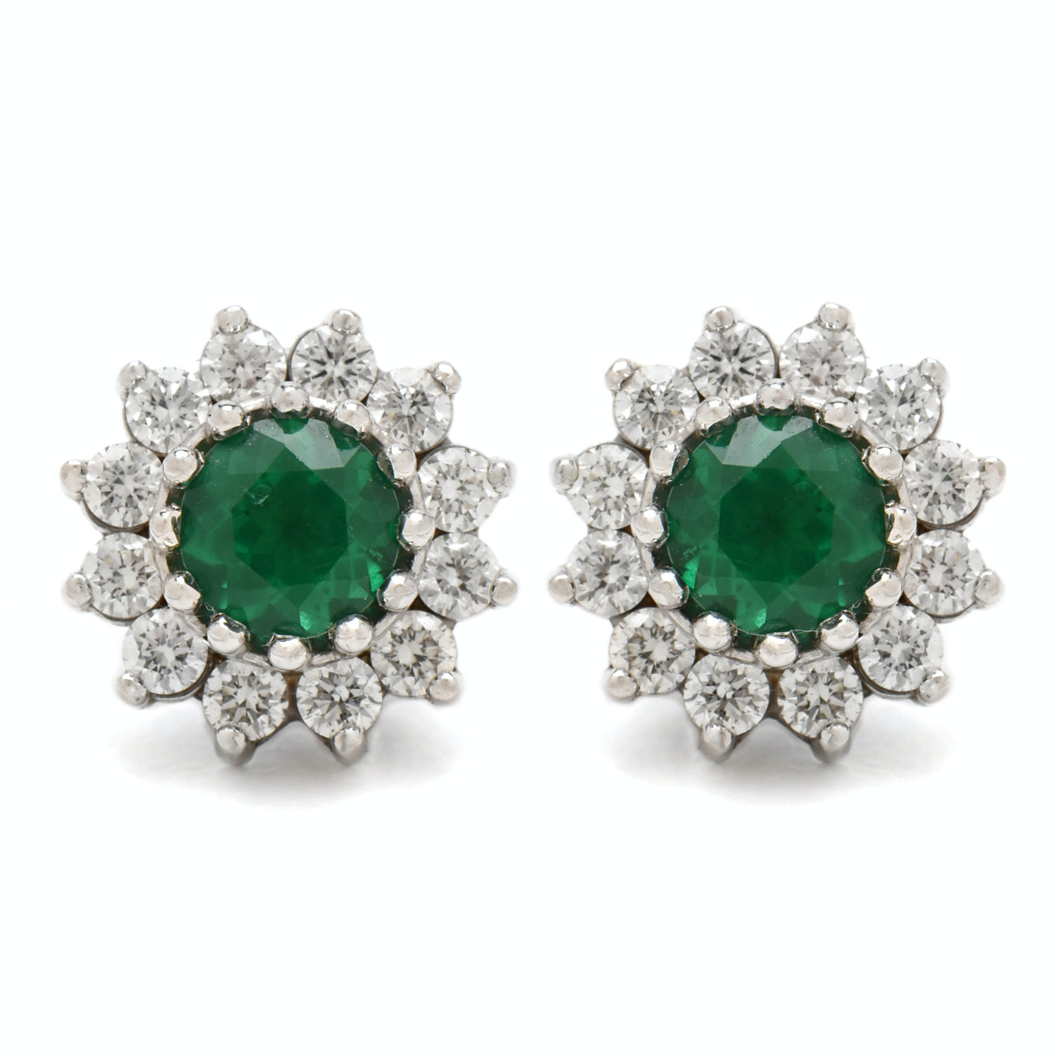 14K White Gold Emerald and Diamond Earrings with AGL Prestige Report
