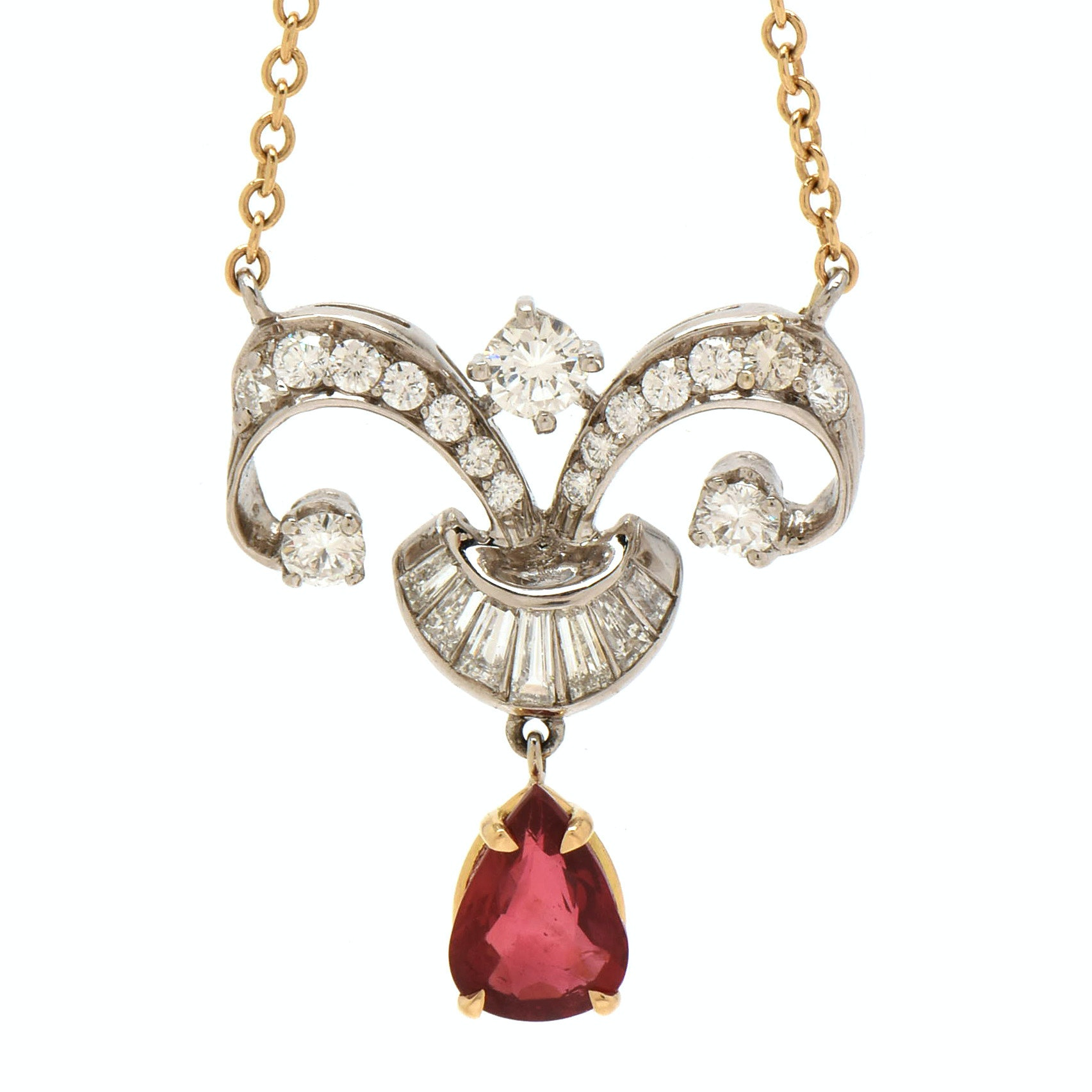 Platinum and 18K Yellow Gold Untreated Ruby and Diamond Necklace, GIA Report