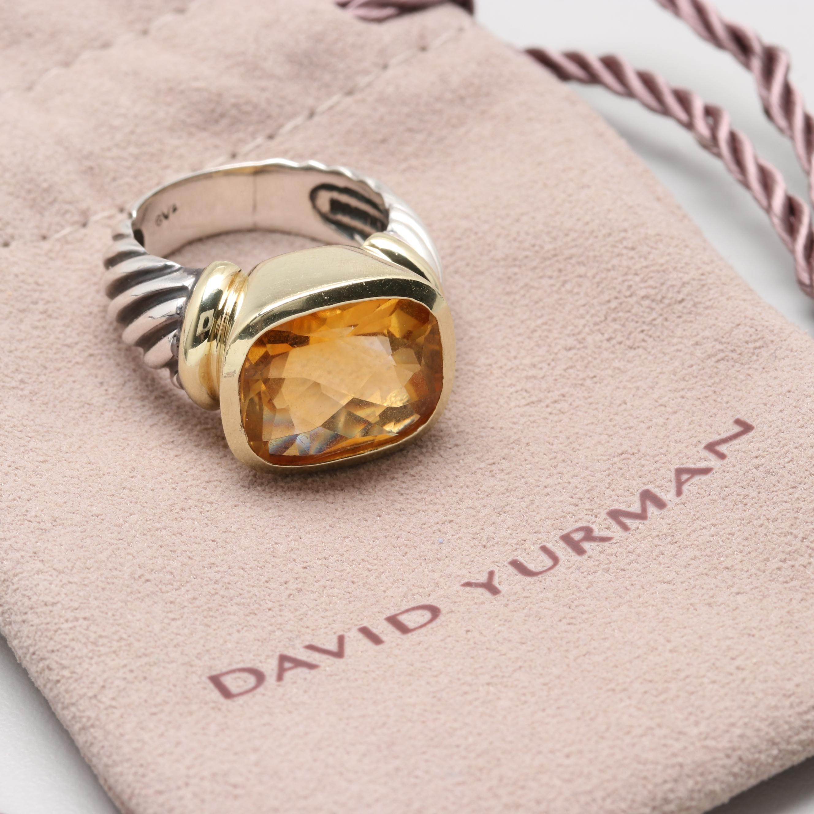 "David Yurman ""Noblesse"" Sterling Silver Citrine Ring with 14K Yellow Gold Accent"