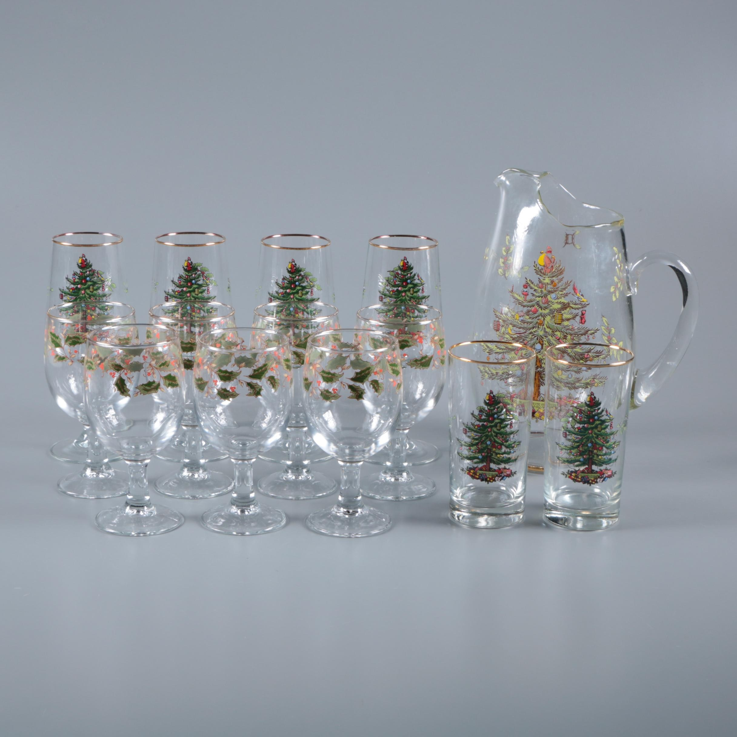 """Spode """"Christmas Tree"""" Stemware and Pitcher with Holly Leaves Goblets"""