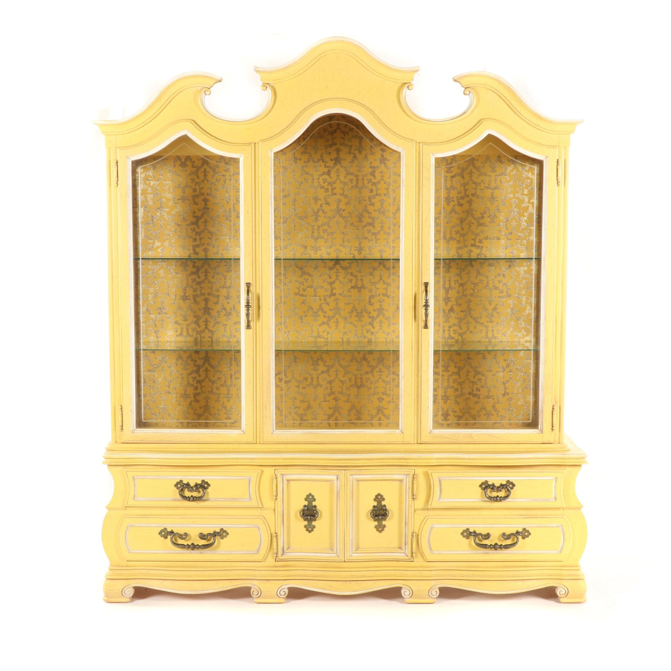 French Style Painted Wooden China Cabinet, 20th Century