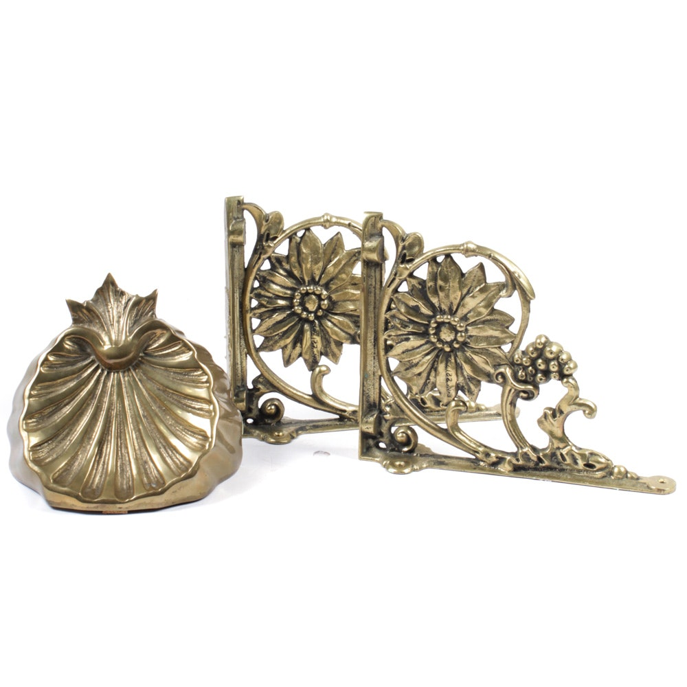 Vintage Brass Floral Brackets and Shell Shelf