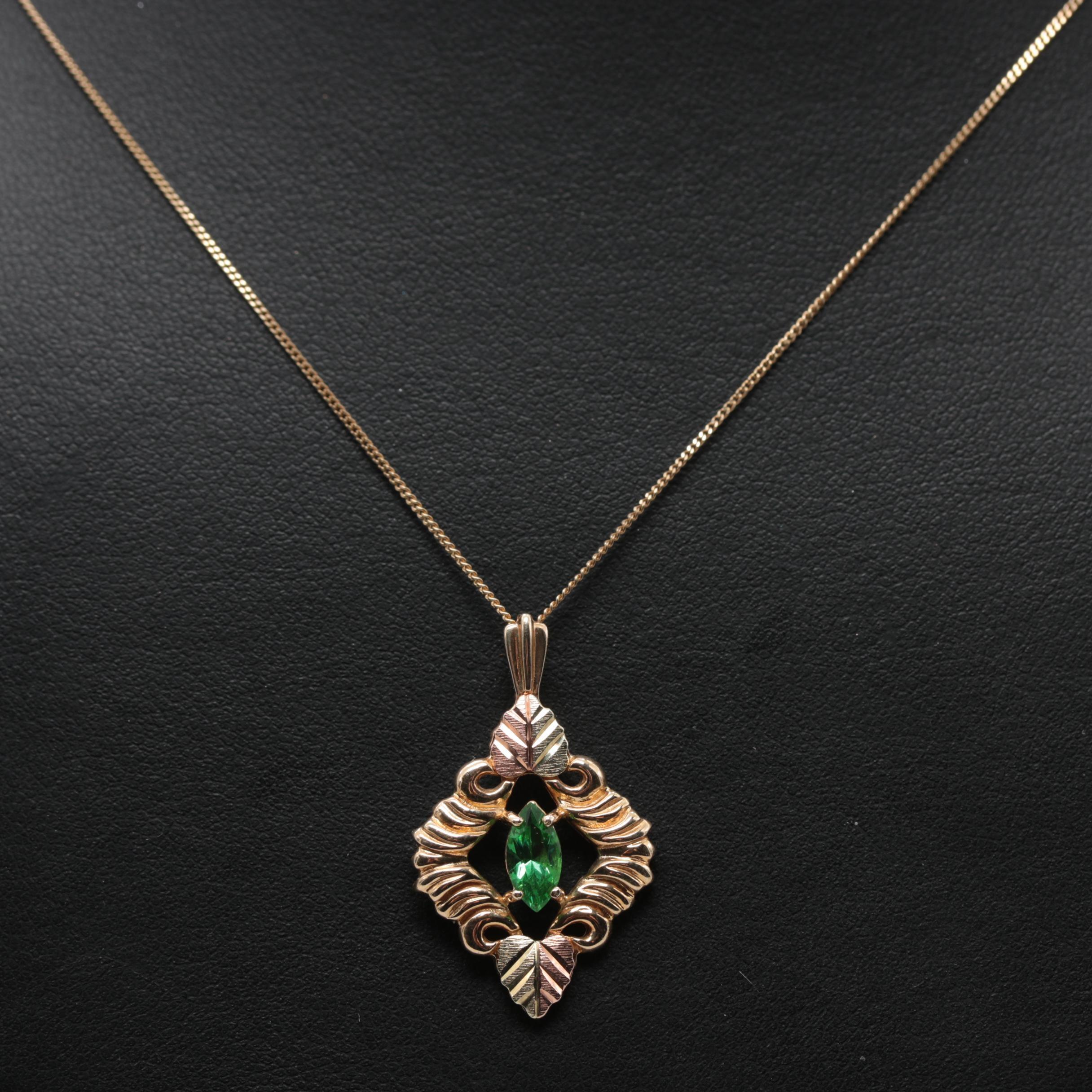 Coleman Co. Black Hills 10K Tri-Color Gold Glass Necklace