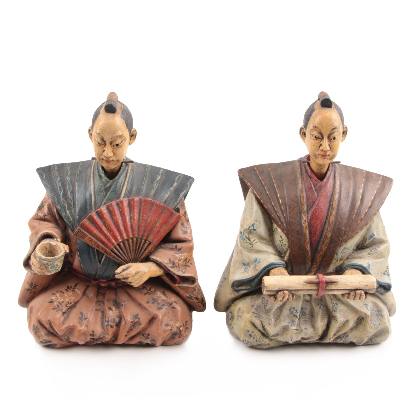 Pair of Italian Ceramic Nodding Japanese Scholar Figures, Mid-19th Century