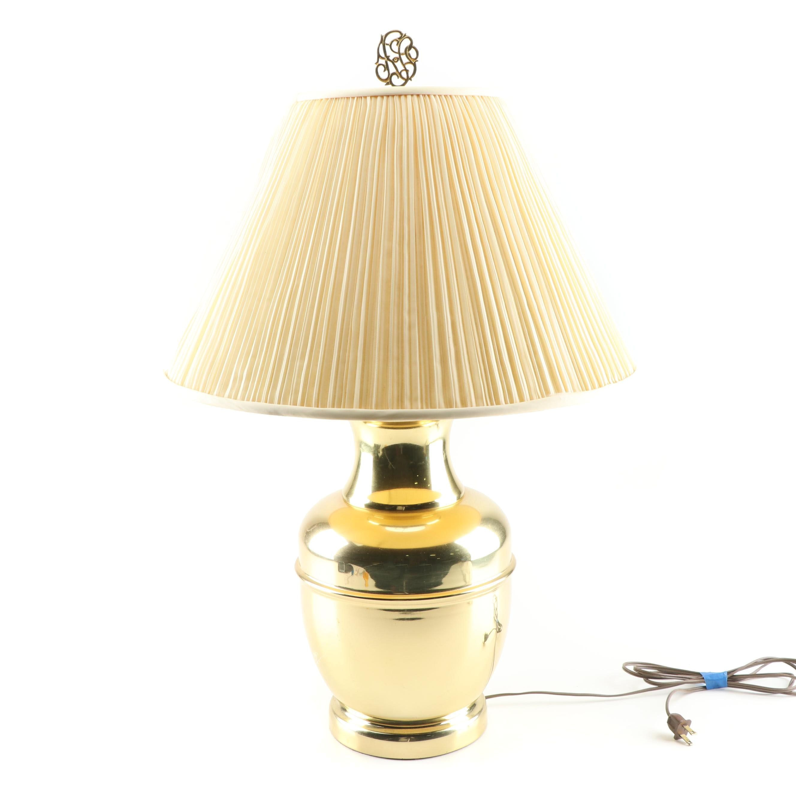 Brass Plate Urn Shaped Table Lamp with Pleated Fabric Shade