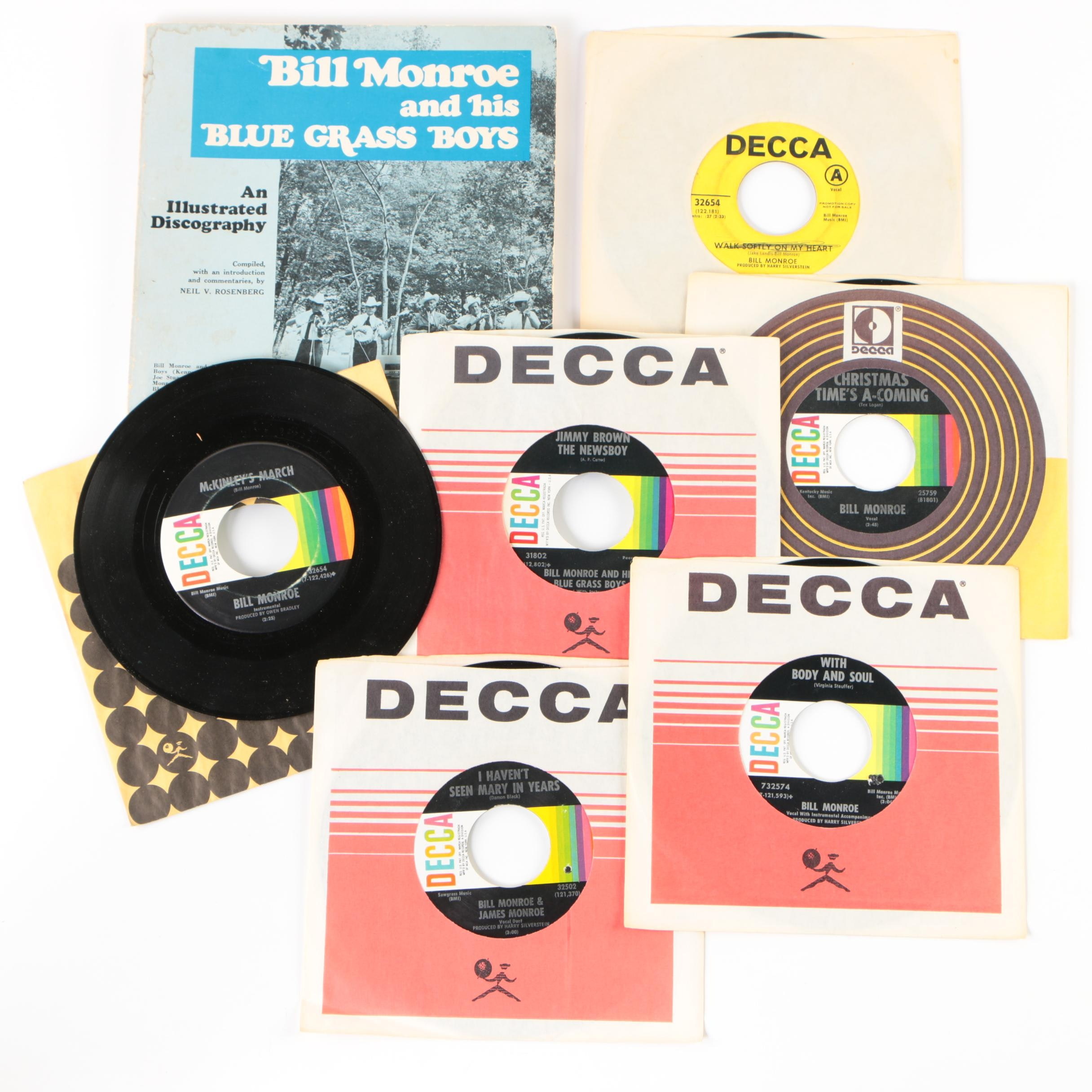 Bill Monroe 45 RPM Vinyl Records and Illustrated Discography Book