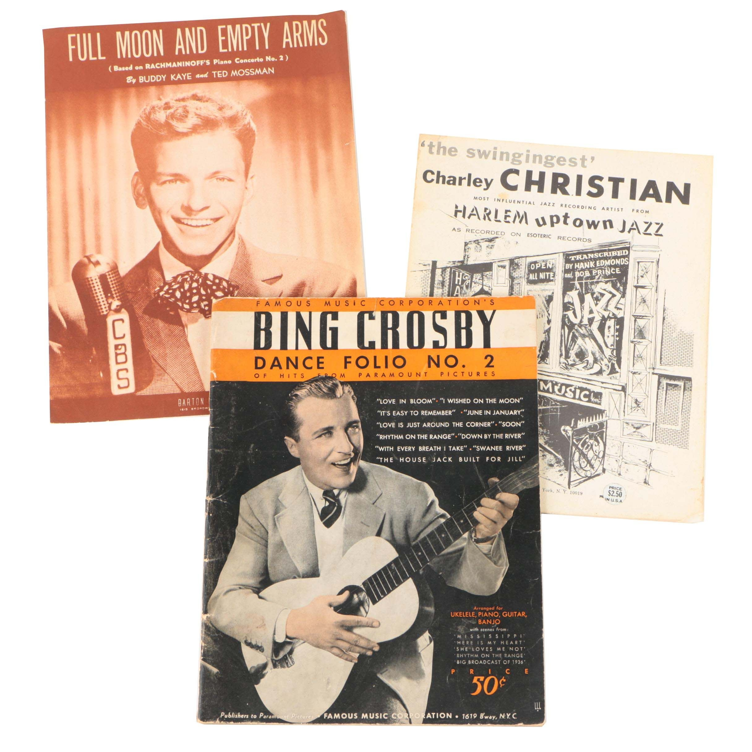 Sheet Music featuring Bing Crosby, Charley Christian, and More, 1930s-1950s