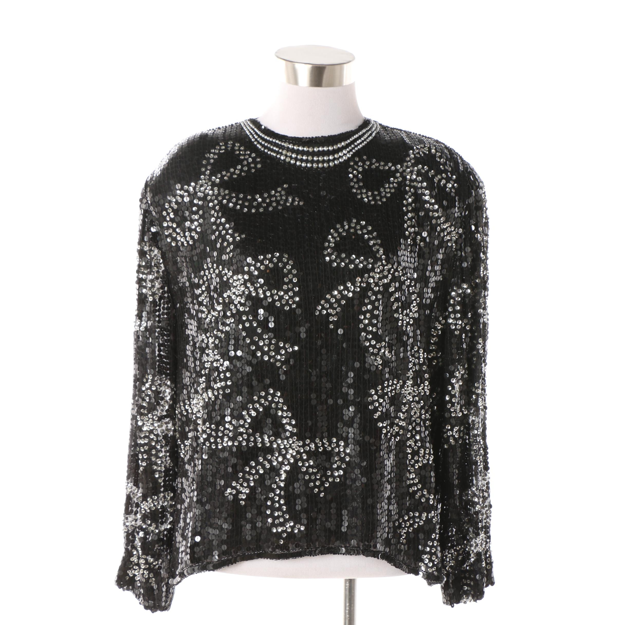 J.K.L. Laing Sequined and Beaded Black Silk Blouse in Bow Motif