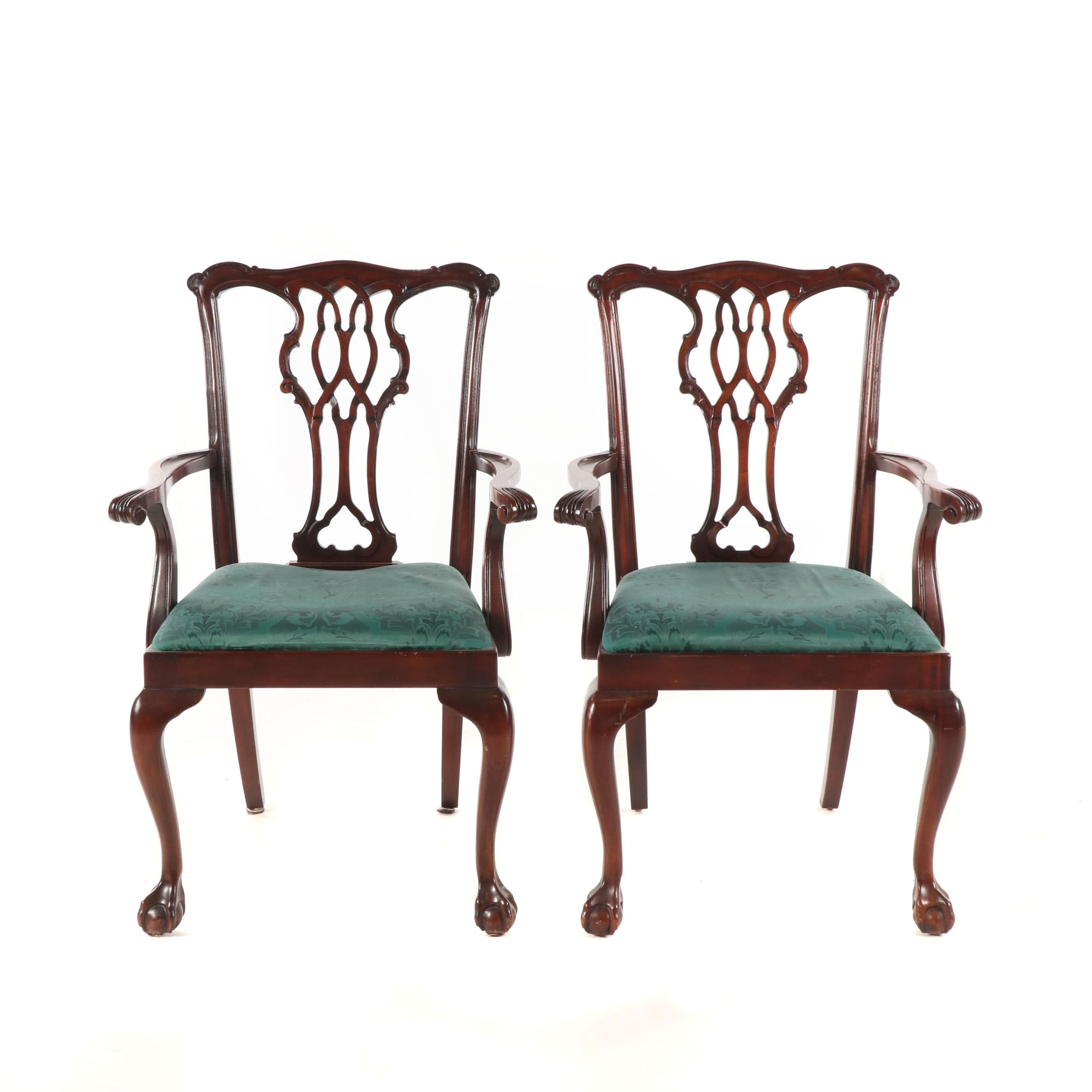 Federal Style Mahogany Dining Armchairs, 20th Century